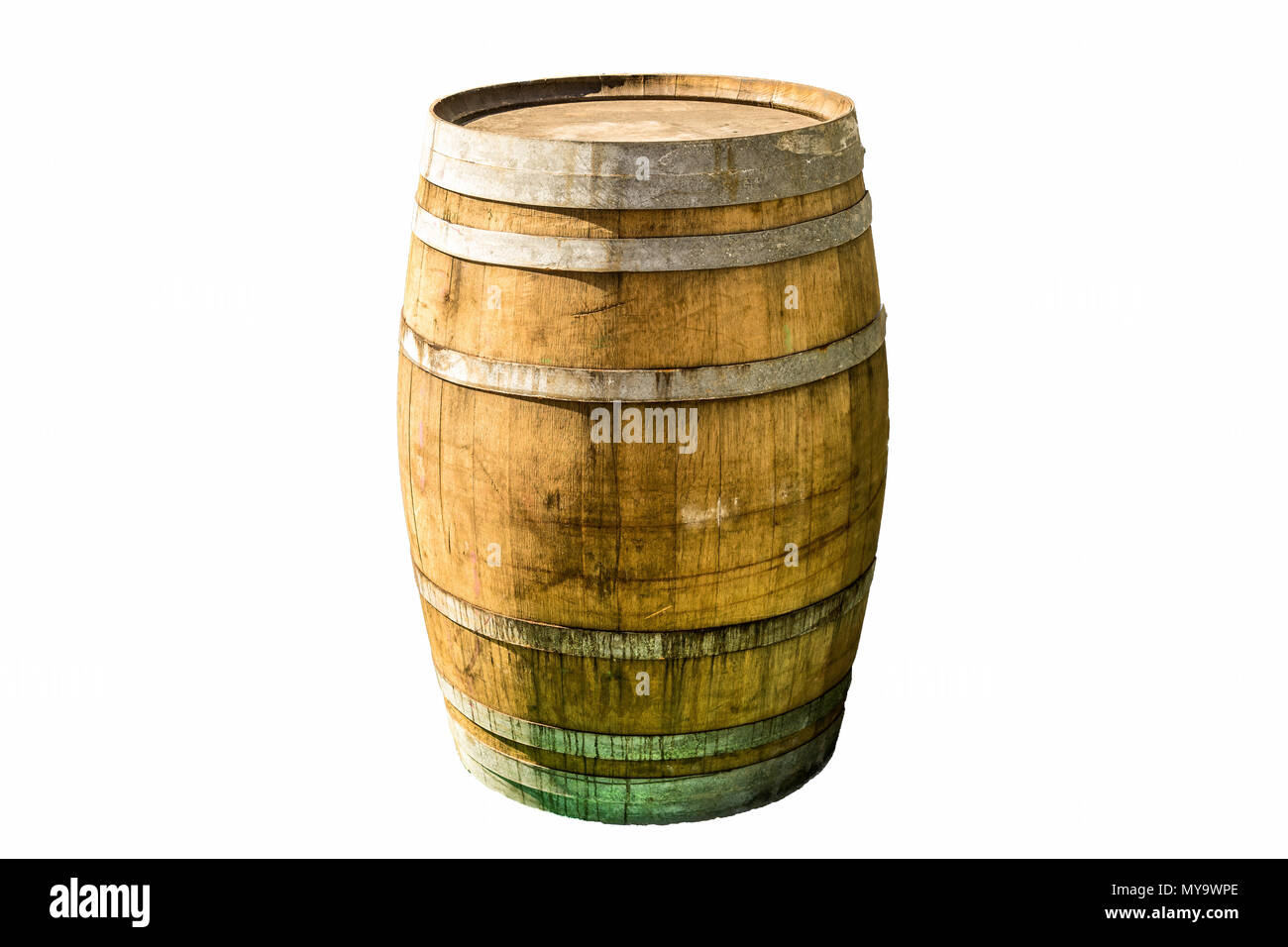 Exemplary old wooden barrel with iron rings and fixtures in front of a white clear background, isolated - Stock Image