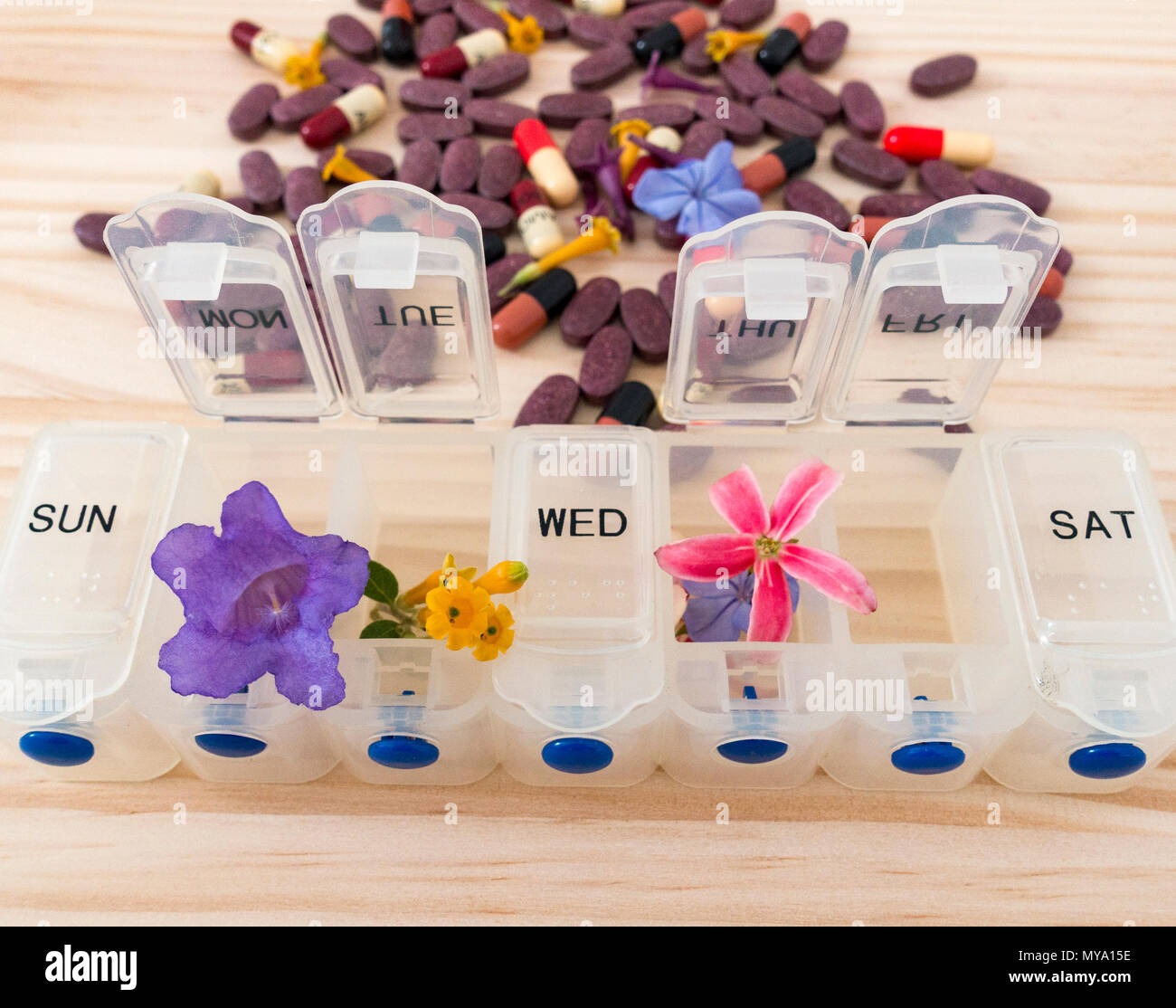 Homeopathy concept image: weekly pill organizer with flowers with antibiotics and Cranberry tablets in background. - Stock Image