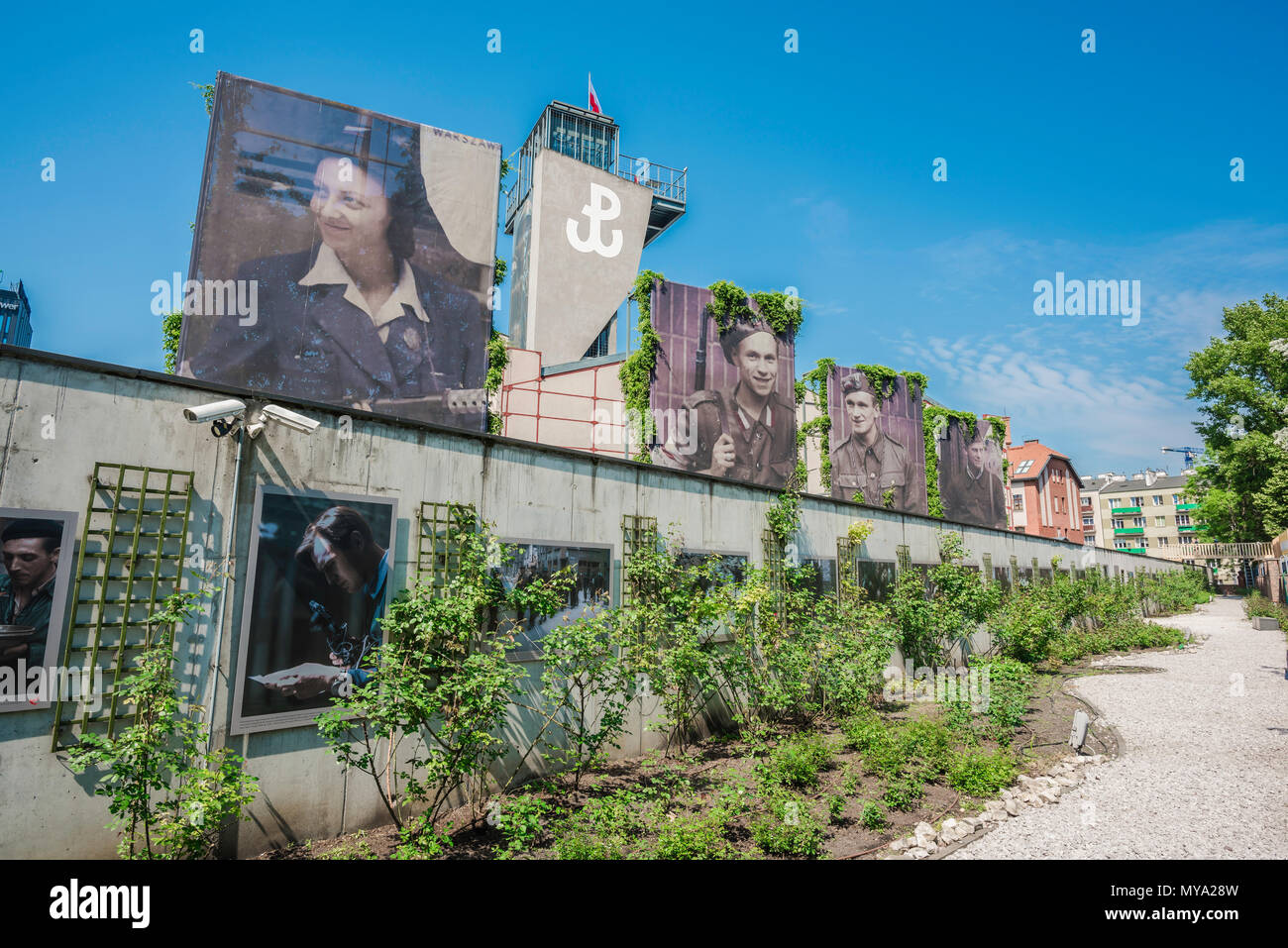 Warsaw Rising Museum, view of the museum rose garden overlooked by large portraits of resistance fighters of the uprising of 1944, Poland. - Stock Image
