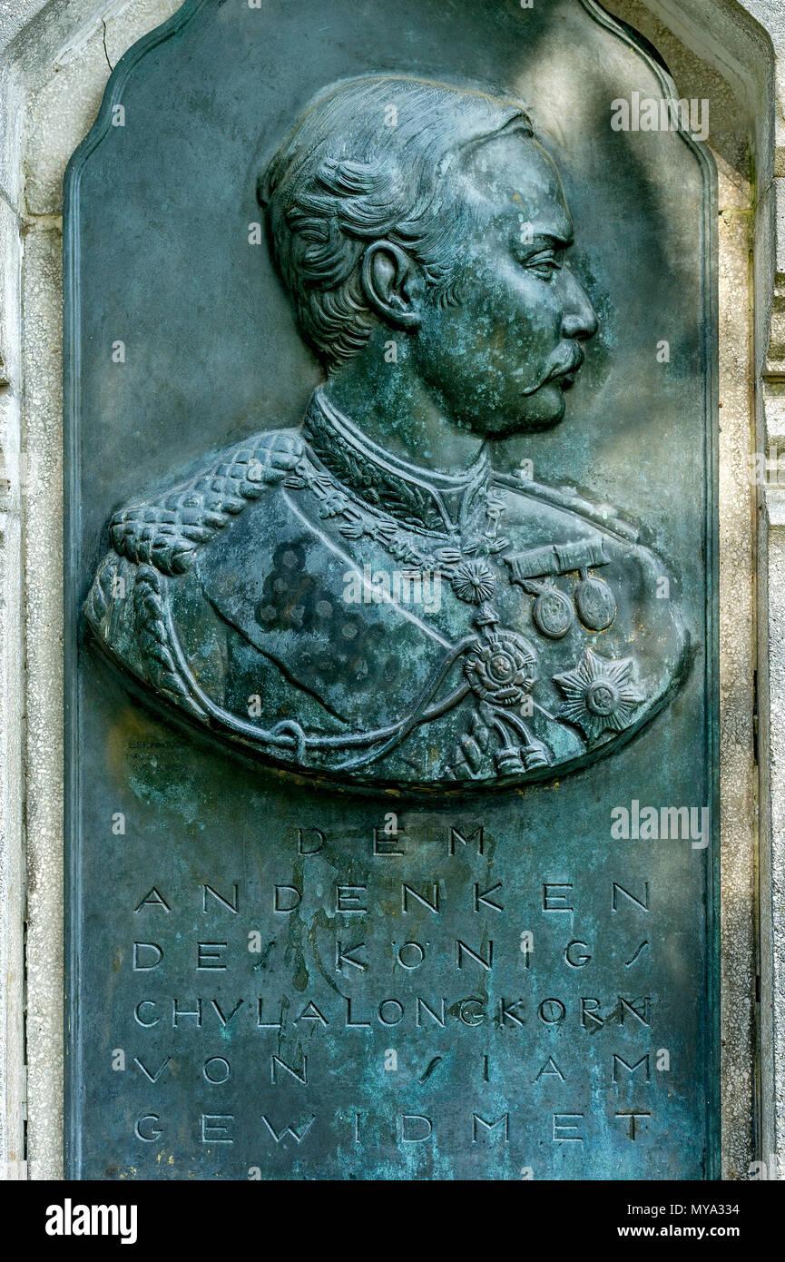 Monument To The Thai King Chulalongkorn Of Siam, Bronze Relief Plate, Thai  Temple, Sala Thai, Spa Garden, Bad Homburg, Hesse