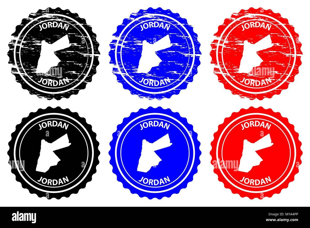 Jordan Rubber Stamp Vector The Hashemite Kingdom Of Jordan Map