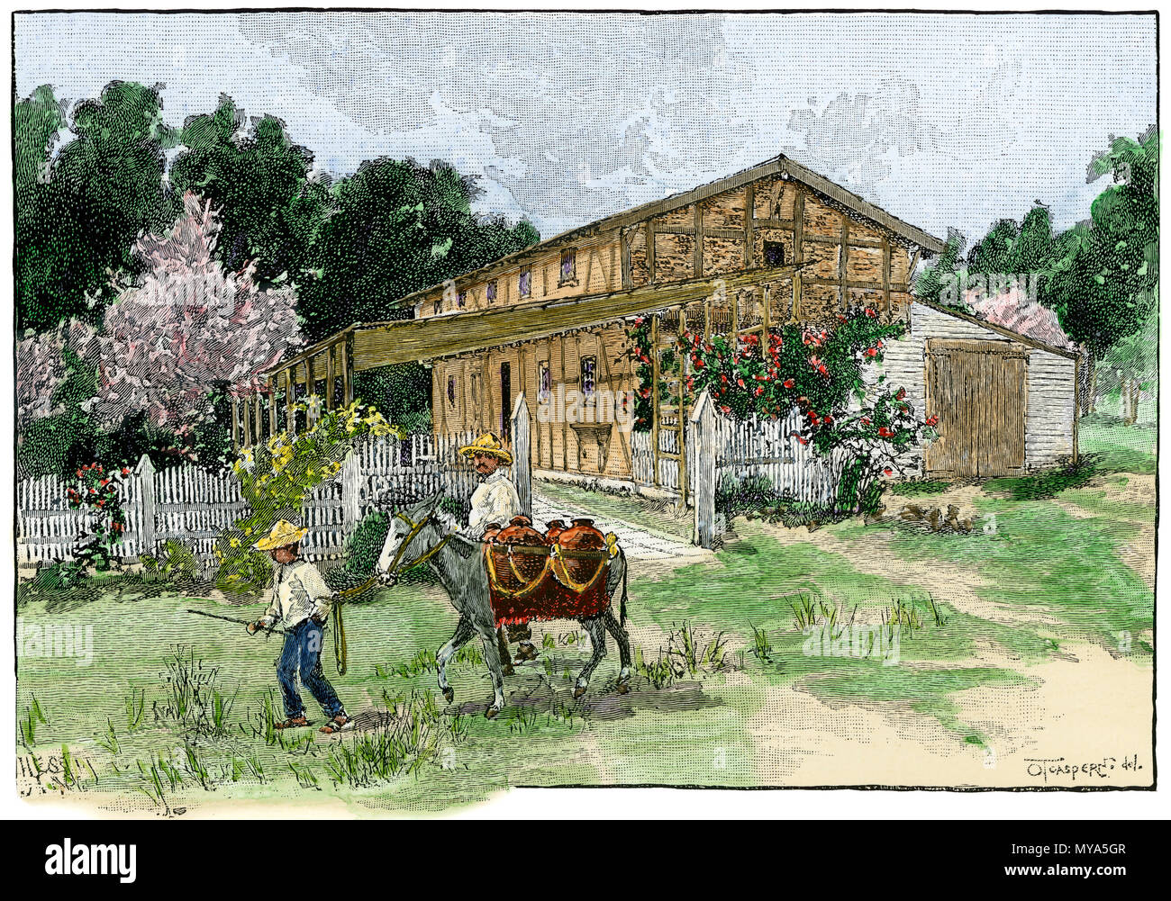 Storehouse of General Vallejo at his home in Sonoma CA, made with timbers imported from Switzerland. Hand-colored woodcut - Stock Image