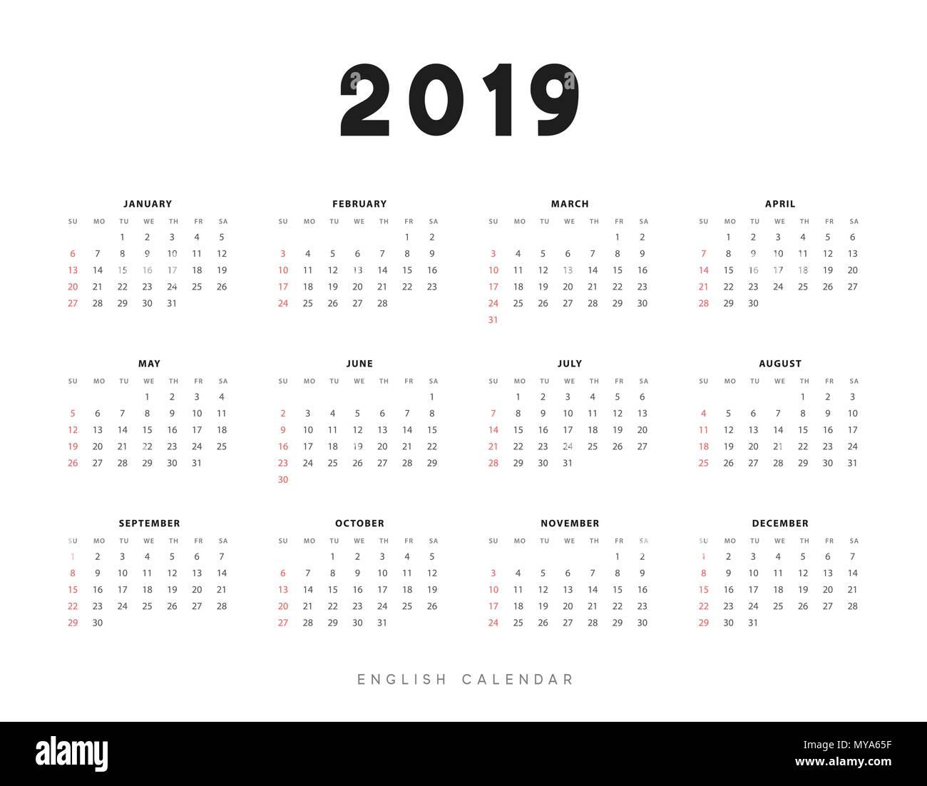 Calendario 2019 Con Numero Week.Simple English Calendar For 2019 Years Week Starts From