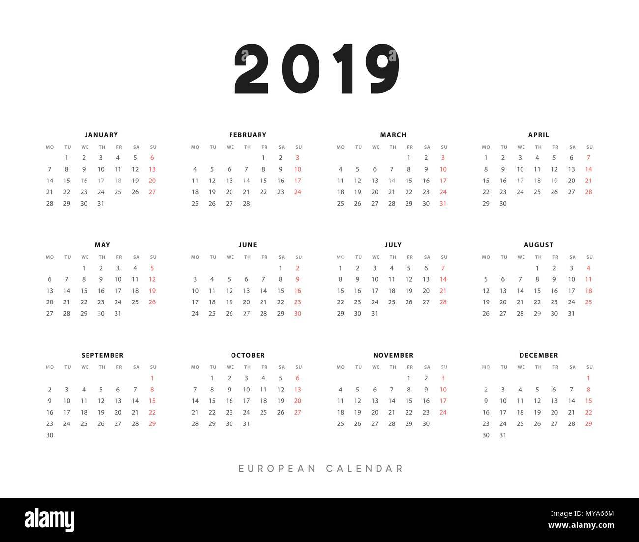 Calendar 2019 -2021 Simple European calendar for 2019 years, week starts on Monday