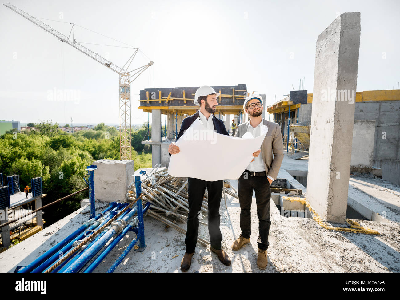 Engineers working on the structure - Stock Image