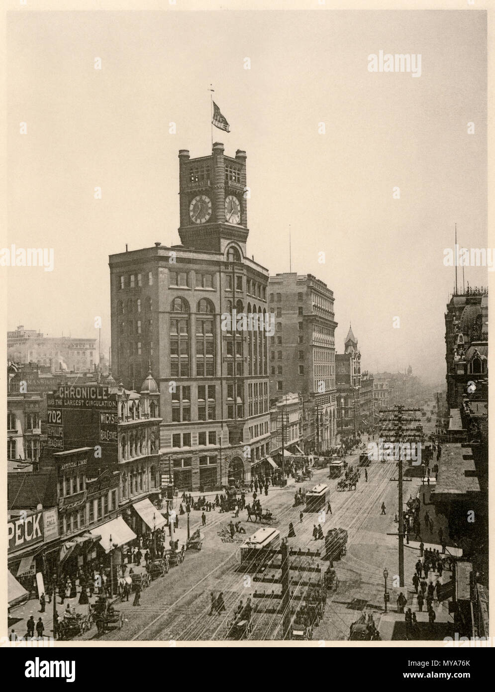 Market Street in San Francisco, showing the Chronicle and Crocker buildings and cable cars, 1890s. Albertype (photograph) - Stock Image