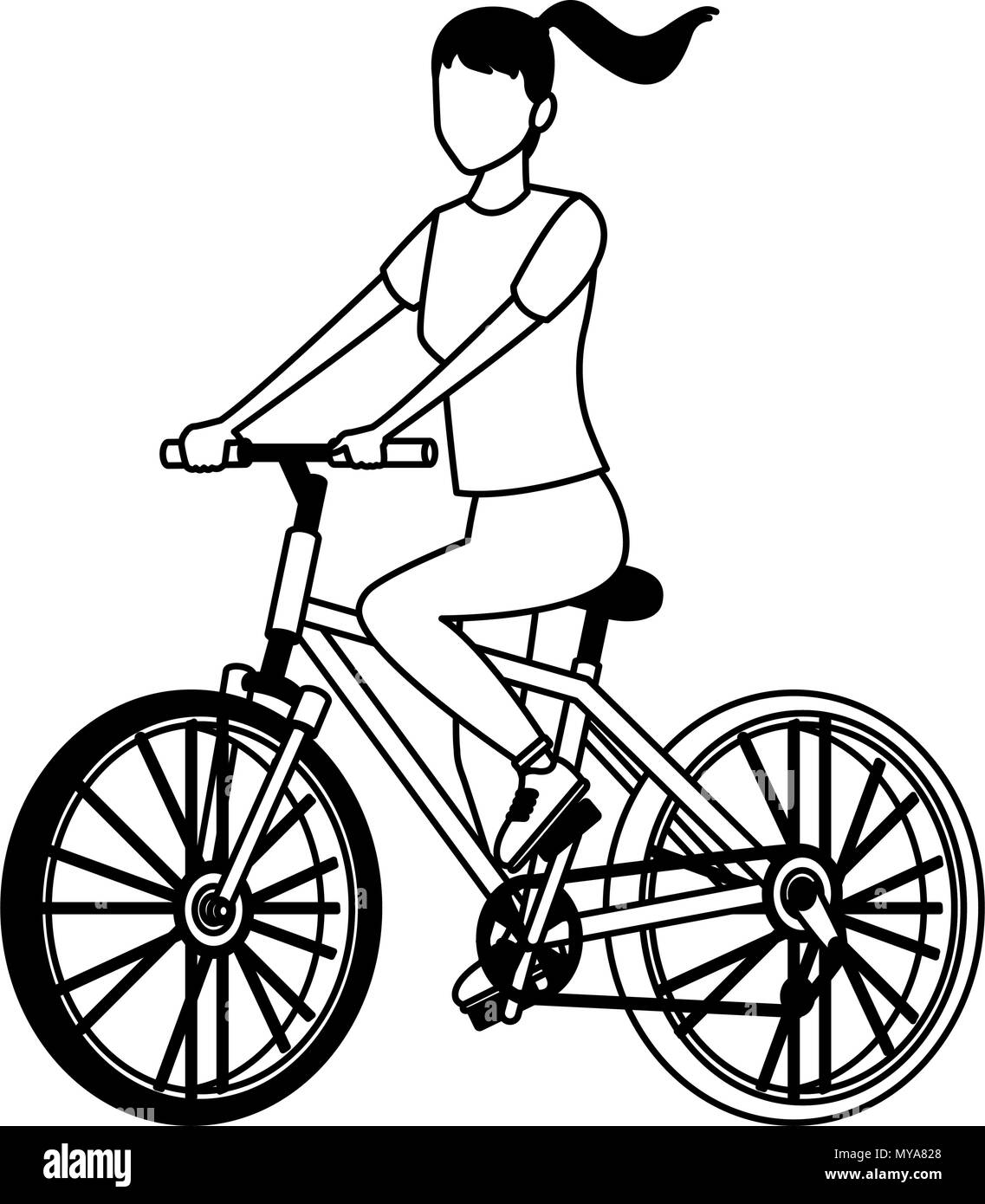 woman with bike black and white stock photos images alamy Denver's Choppers woman with bicycle in black and white stock image