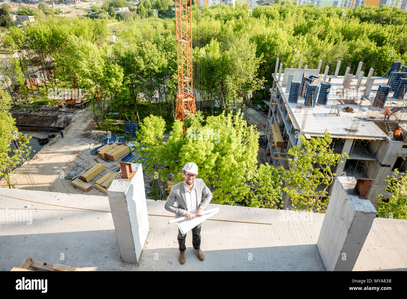 Construction site with engineer Stock Photo