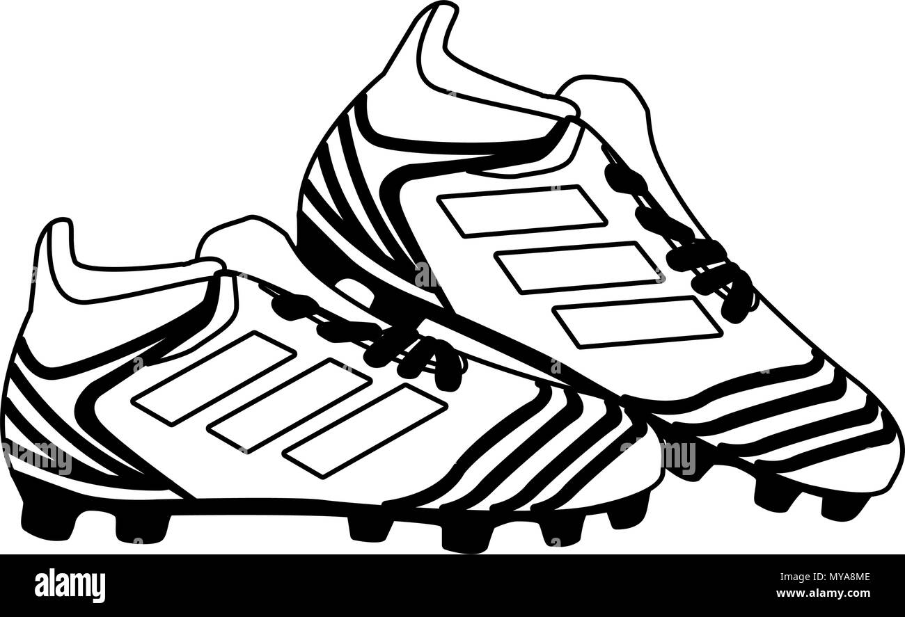 ca35d11682b Soccer boots isolated in black and white Stock Vector Art ...
