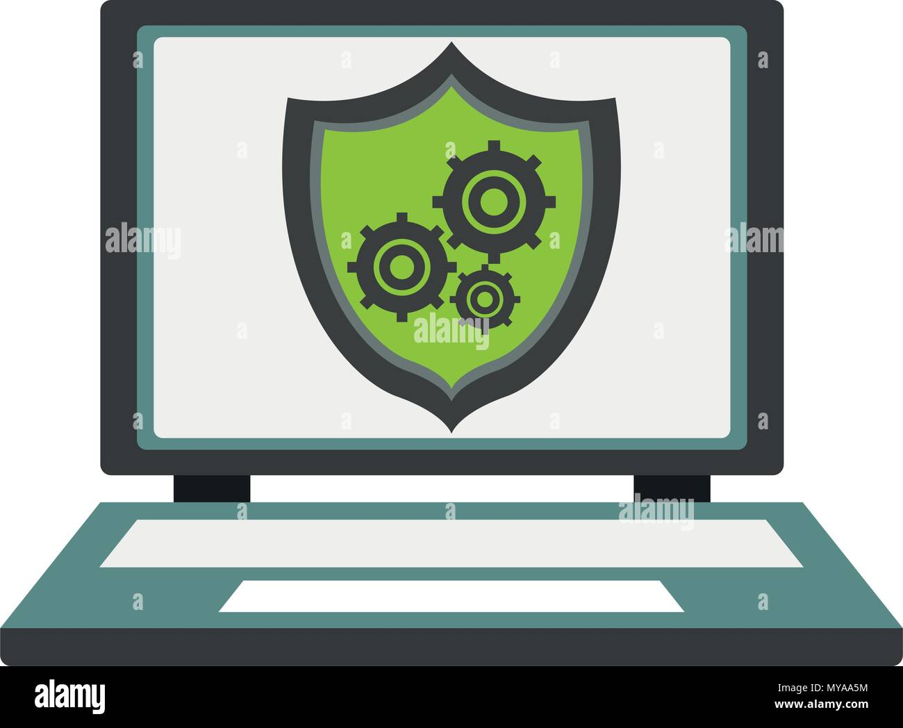 Laptop with antivirus - Stock Image