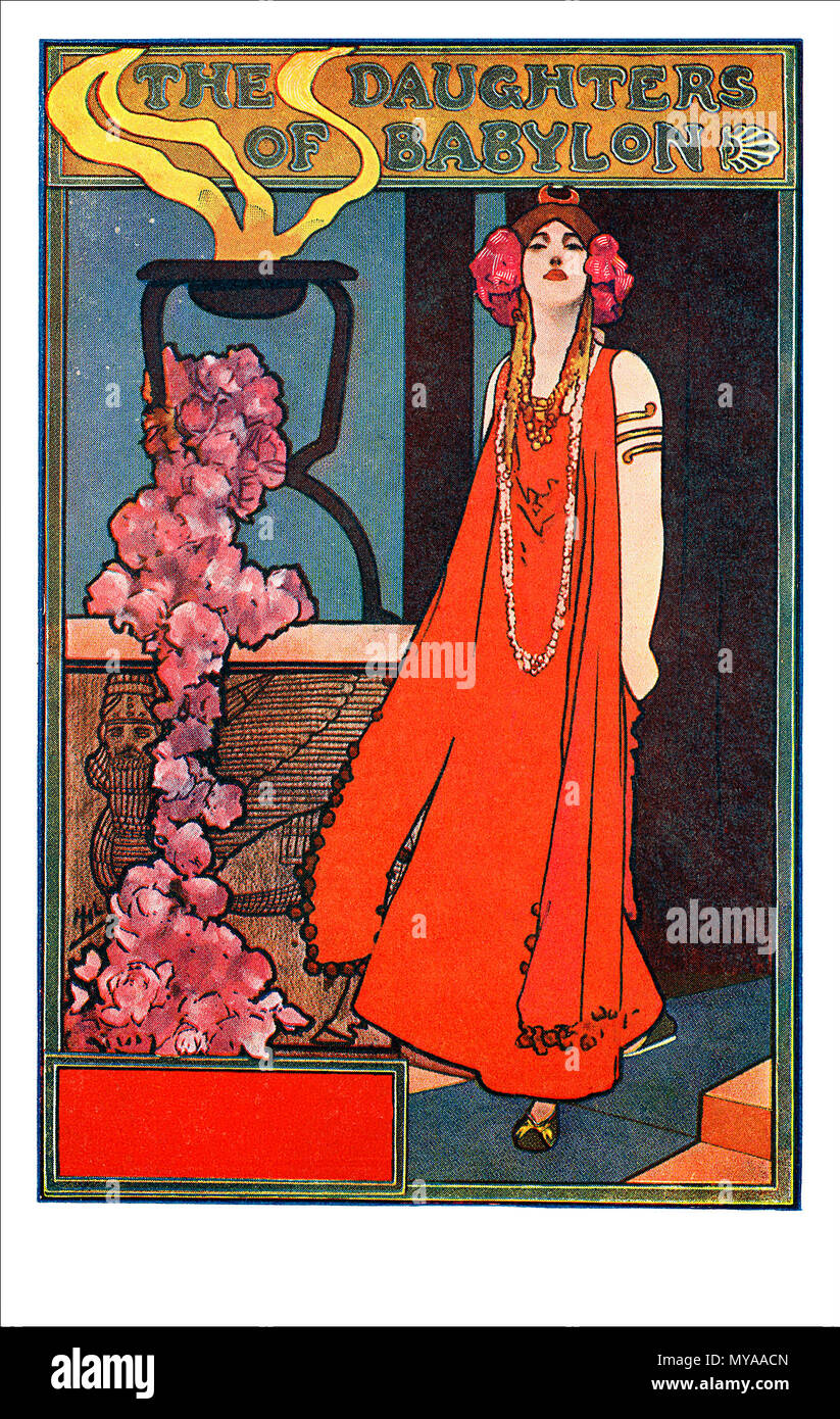 Vintage advertising postcard for the play The Daughters Of Babylon by Wilson Barrett. Illustrated by John Hassall. - Stock Image
