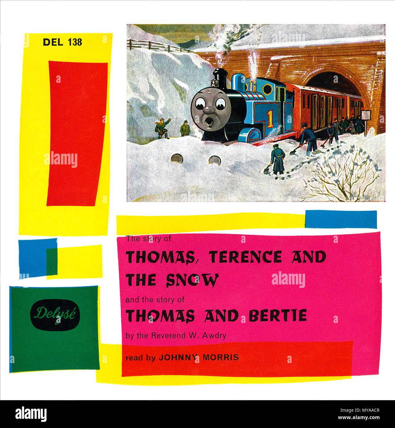 Cover of a 1964 7 inch EP featuring Johnny Morris reading Thomas The Tank Engine stories. Stock Photo