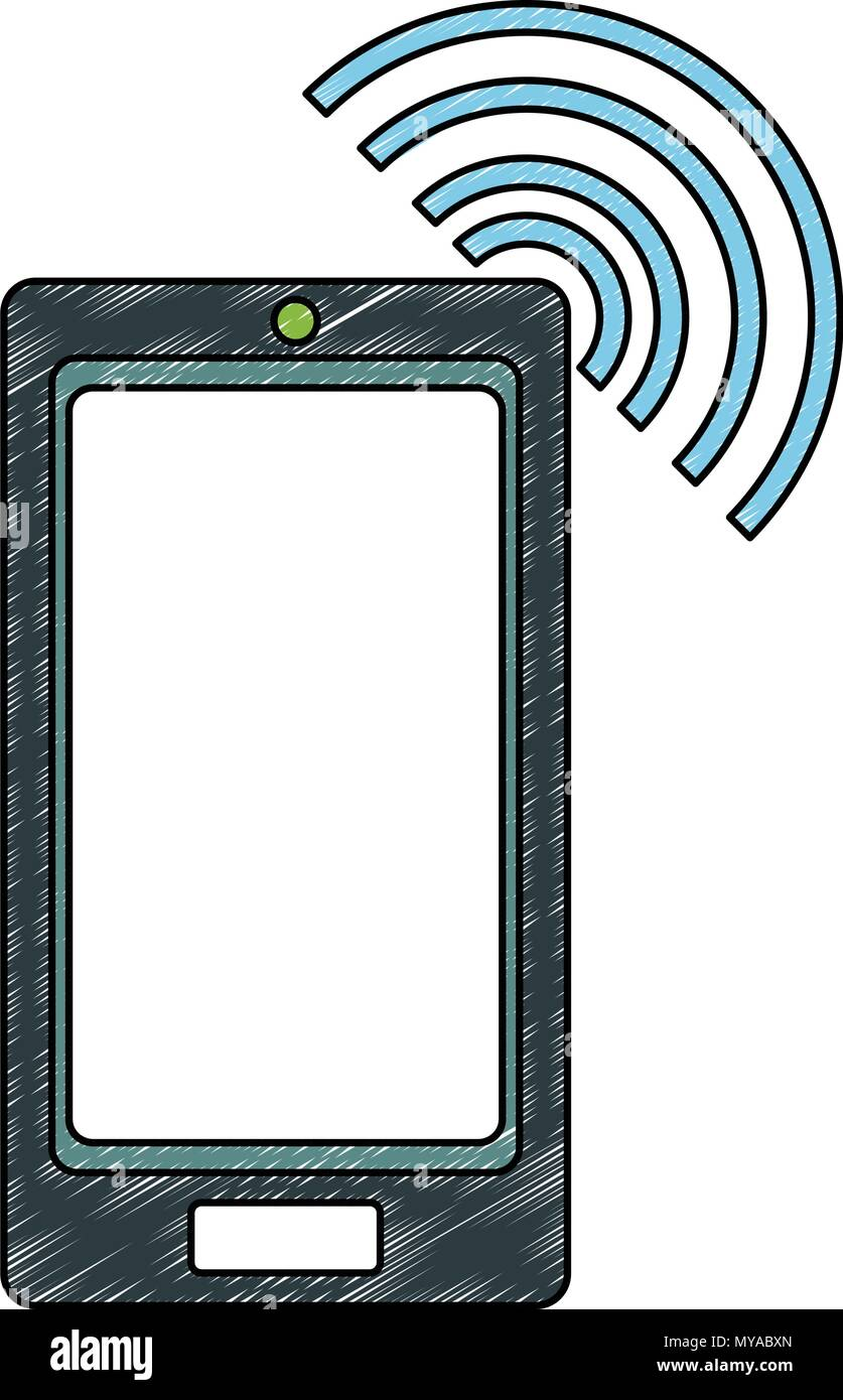 Smartphone with wifi scribble - Stock Image