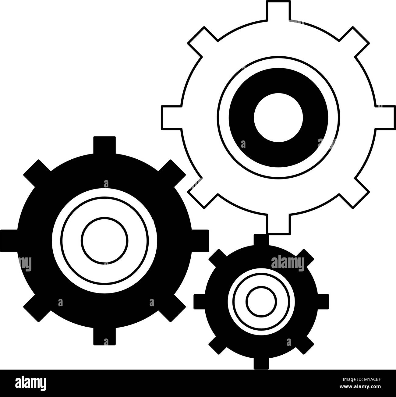 Gears working symbol in black and white - Stock Vector