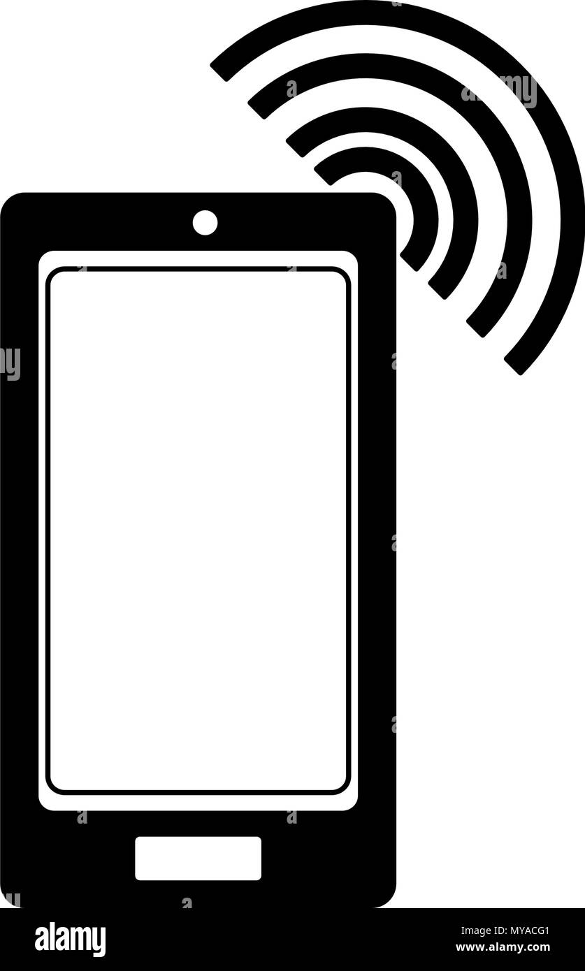 Smartphone with wifi in black and white - Stock Image