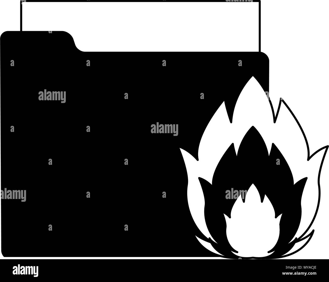 Folder with flamme in black and white - Stock Image