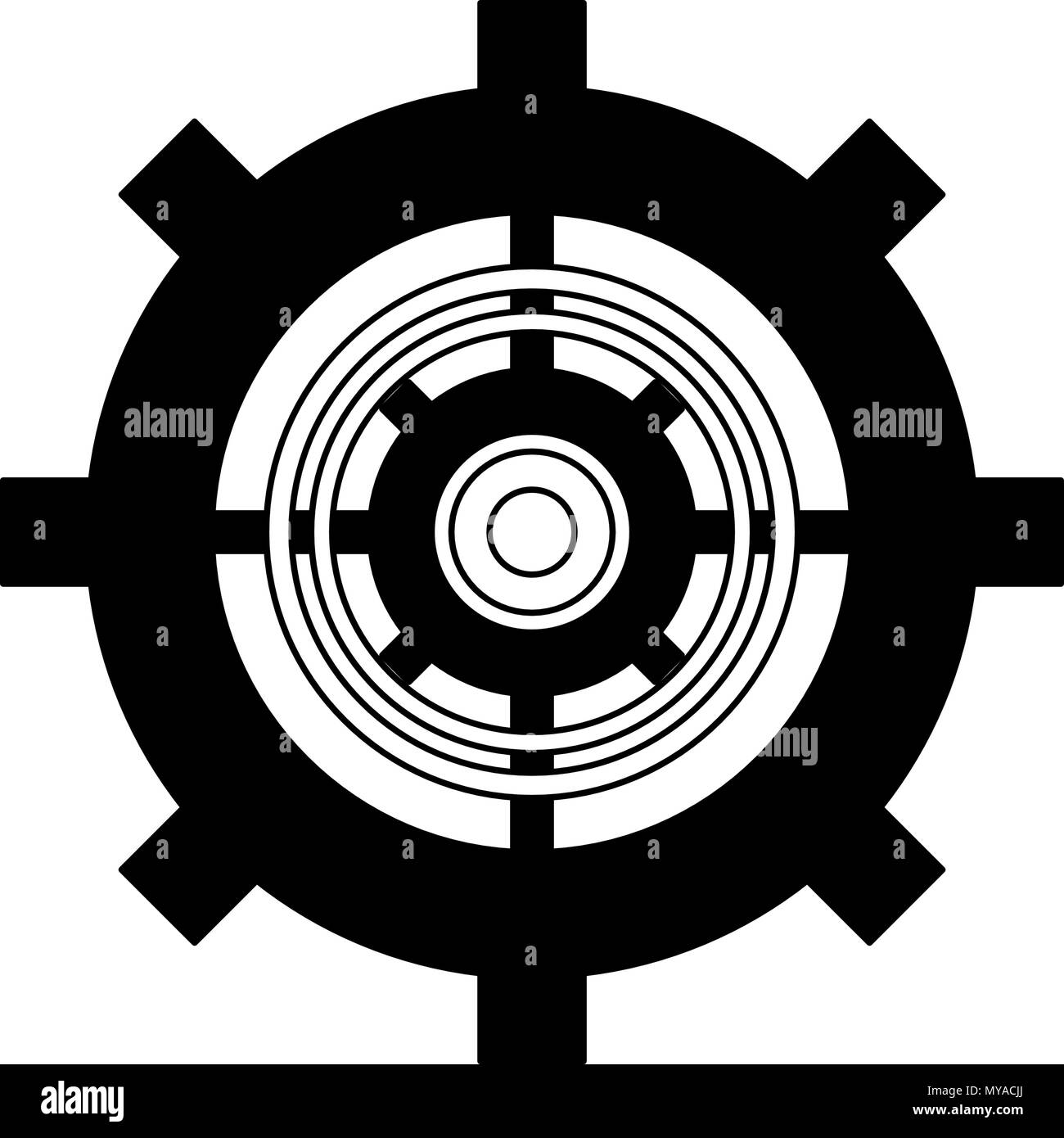 Gear working symbol in black and white - Stock Vector