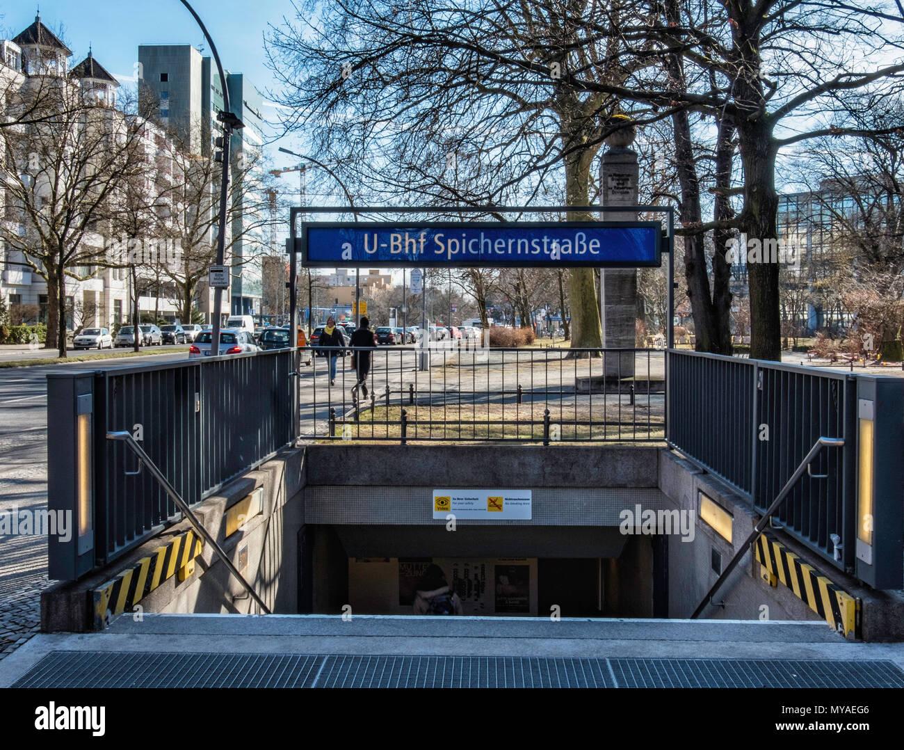 Berlin Wilmersdorf. Spichernstraße U-Bahn underground railway station serves U 3 and U 9 lines.Street view of entrance - Stock Image