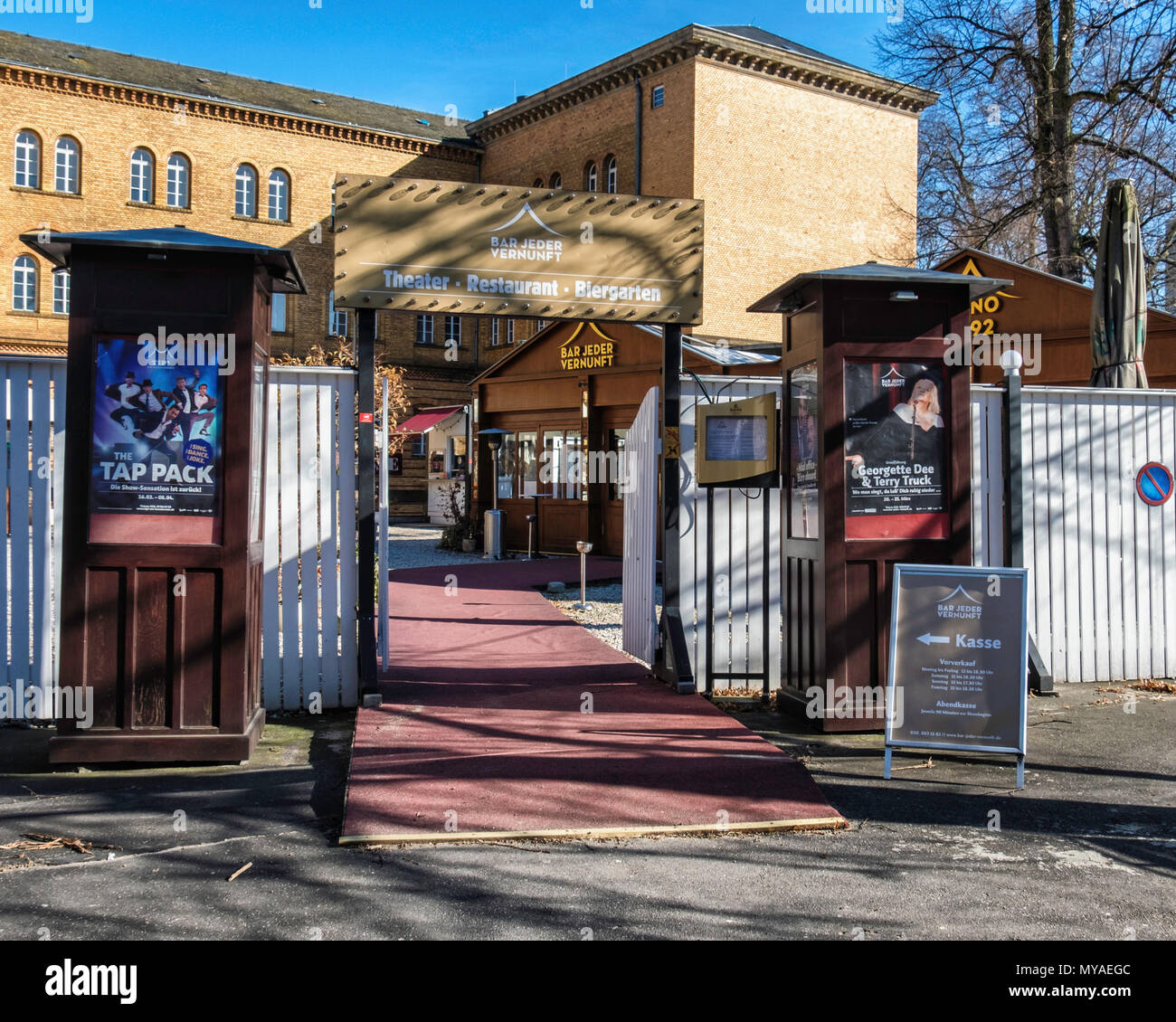 Berlin,Bar Jeder Vernunft theatre restaurant and Beer garden. Venue with mirror tented interior for old-time cabaret, comedy - Stock Image