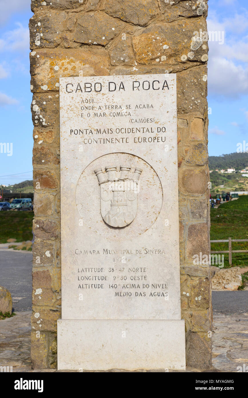 Cabo Da Roca Portugal The Westernmost Tip Of The European Continent Indication Of The Coordinates Stock Photo Alamy