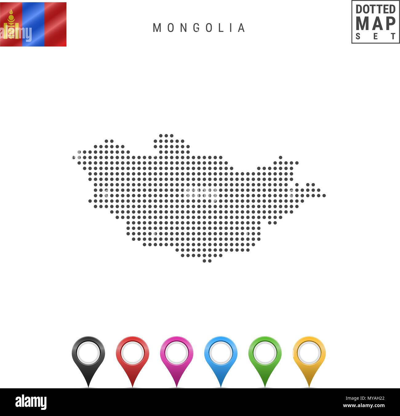 Vector Dotted Map of Mongolia. Simple Silhouette of Mongolia. National Flag of Mongolia. Set of Multicolored Map Markers - Stock Image
