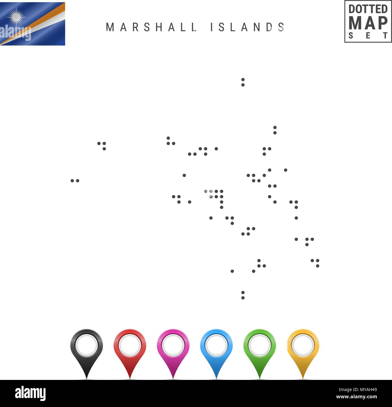 Vector Dotted Map of Marshall Islands. Simple Silhouette of Marshall ...