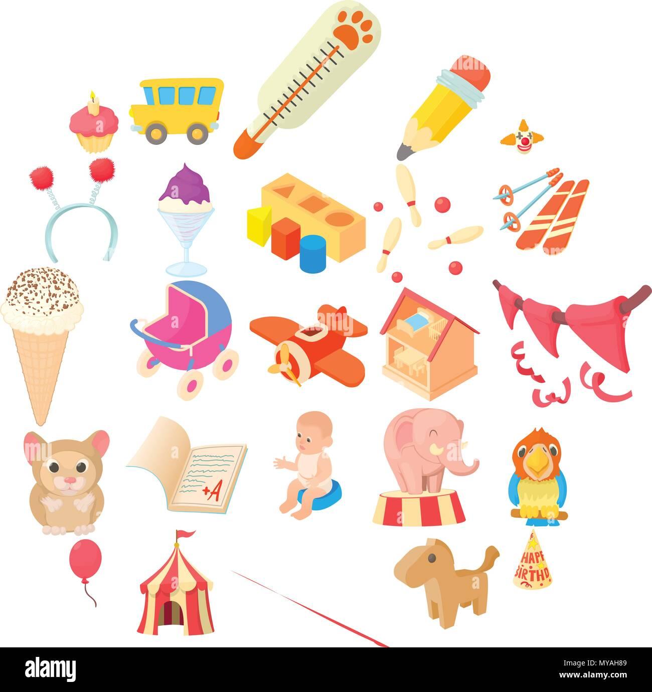Games for schoolchildren icons set, cartoon style - Stock Vector