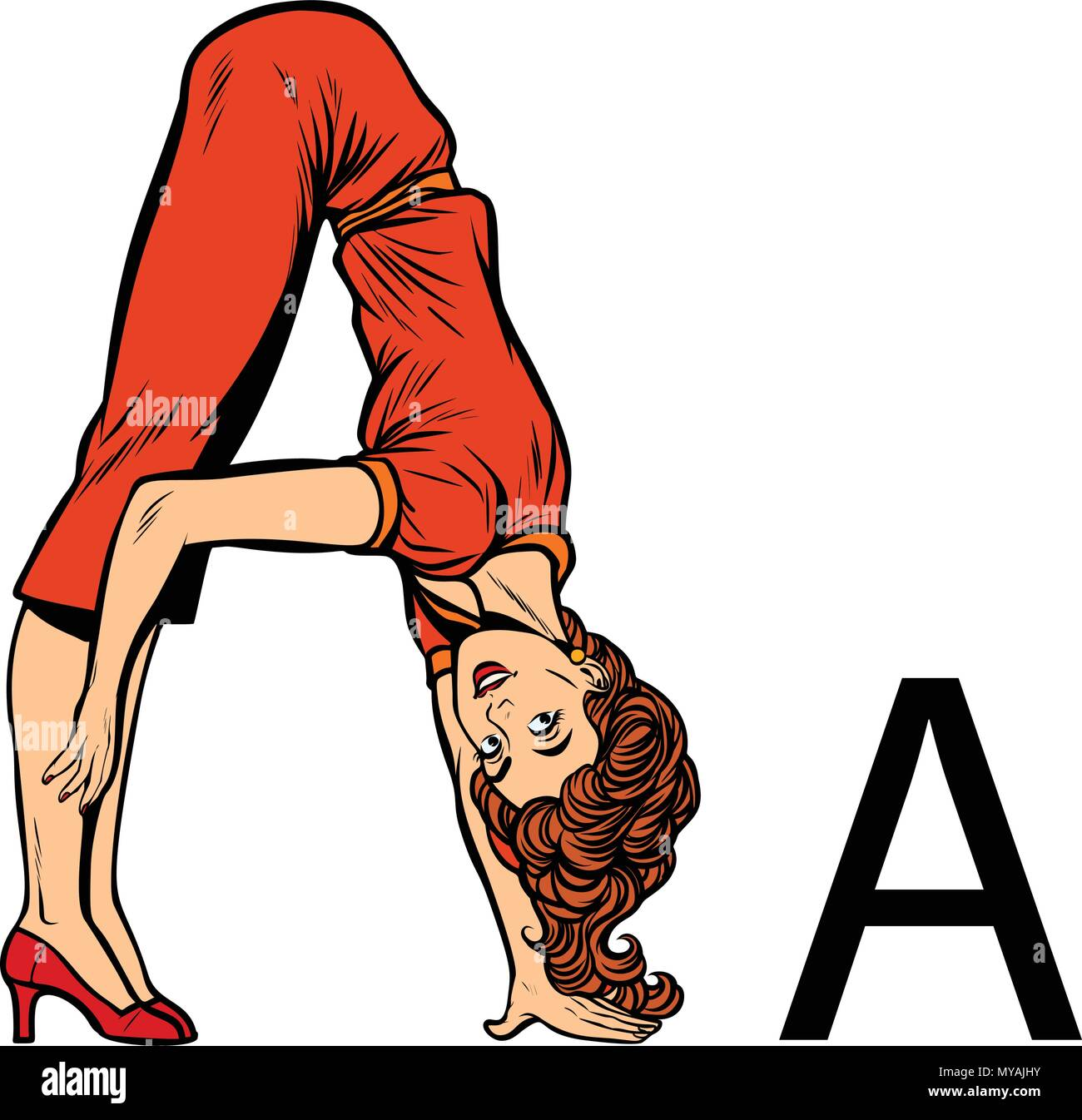 letter A as aes. Business people silhouette alphabet - Stock Image