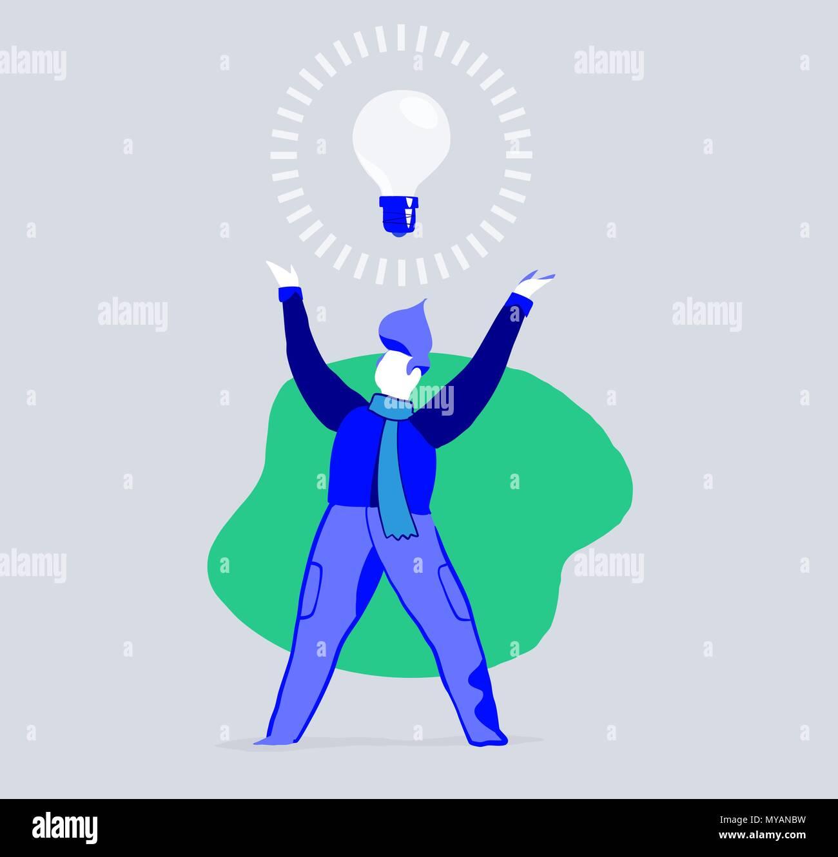 A creative man had a great and innovative idea - Stock Image