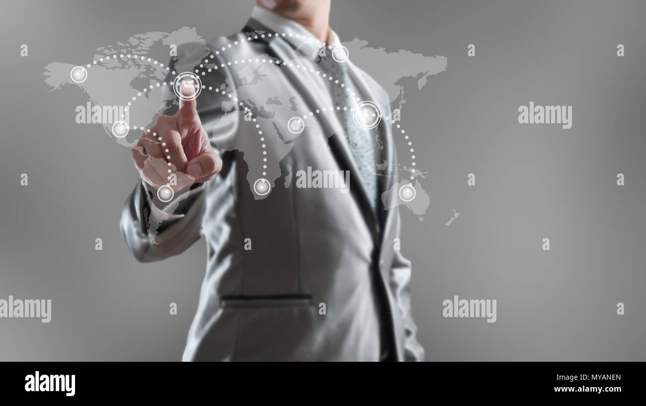 Businessman woking with globalization marketing concept - Stock Image