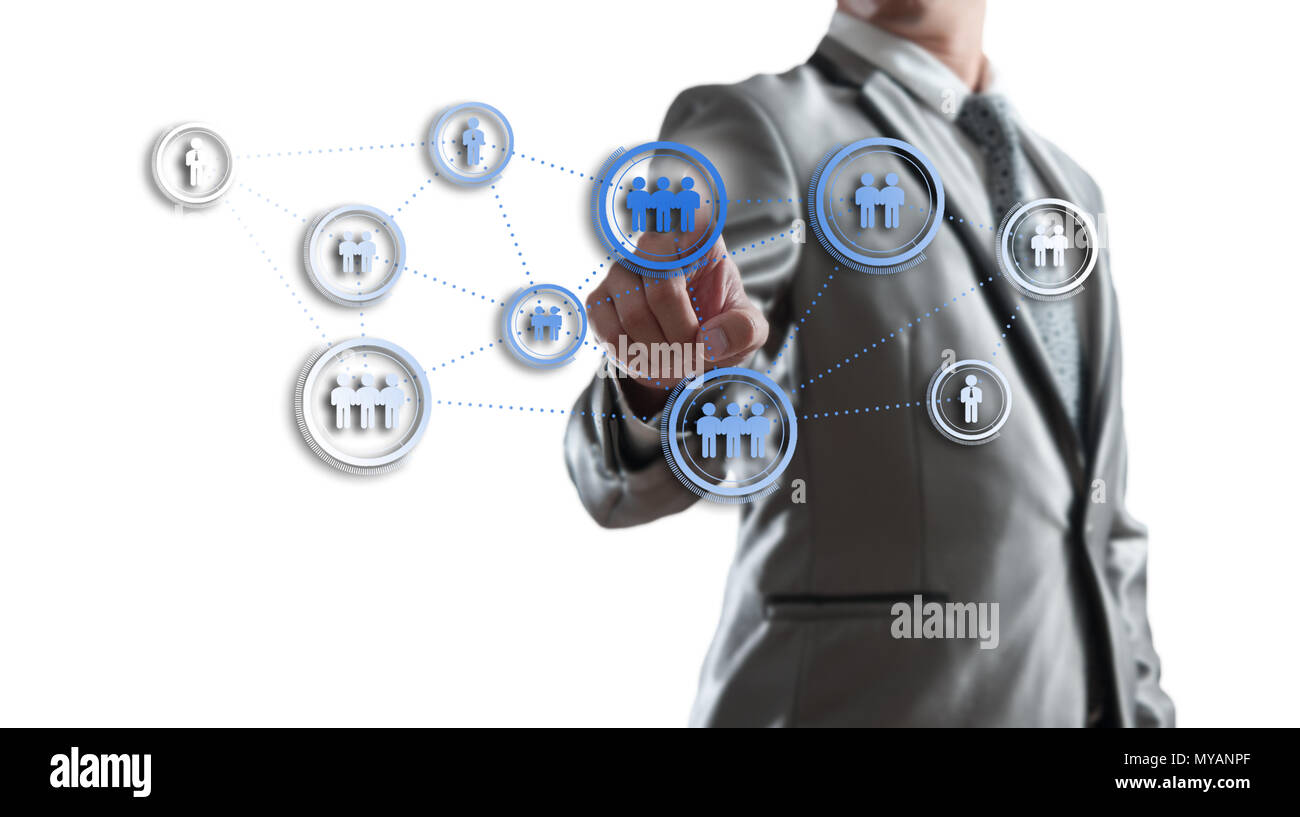 Businessman working with digital visual object, human resource concept - Stock Image
