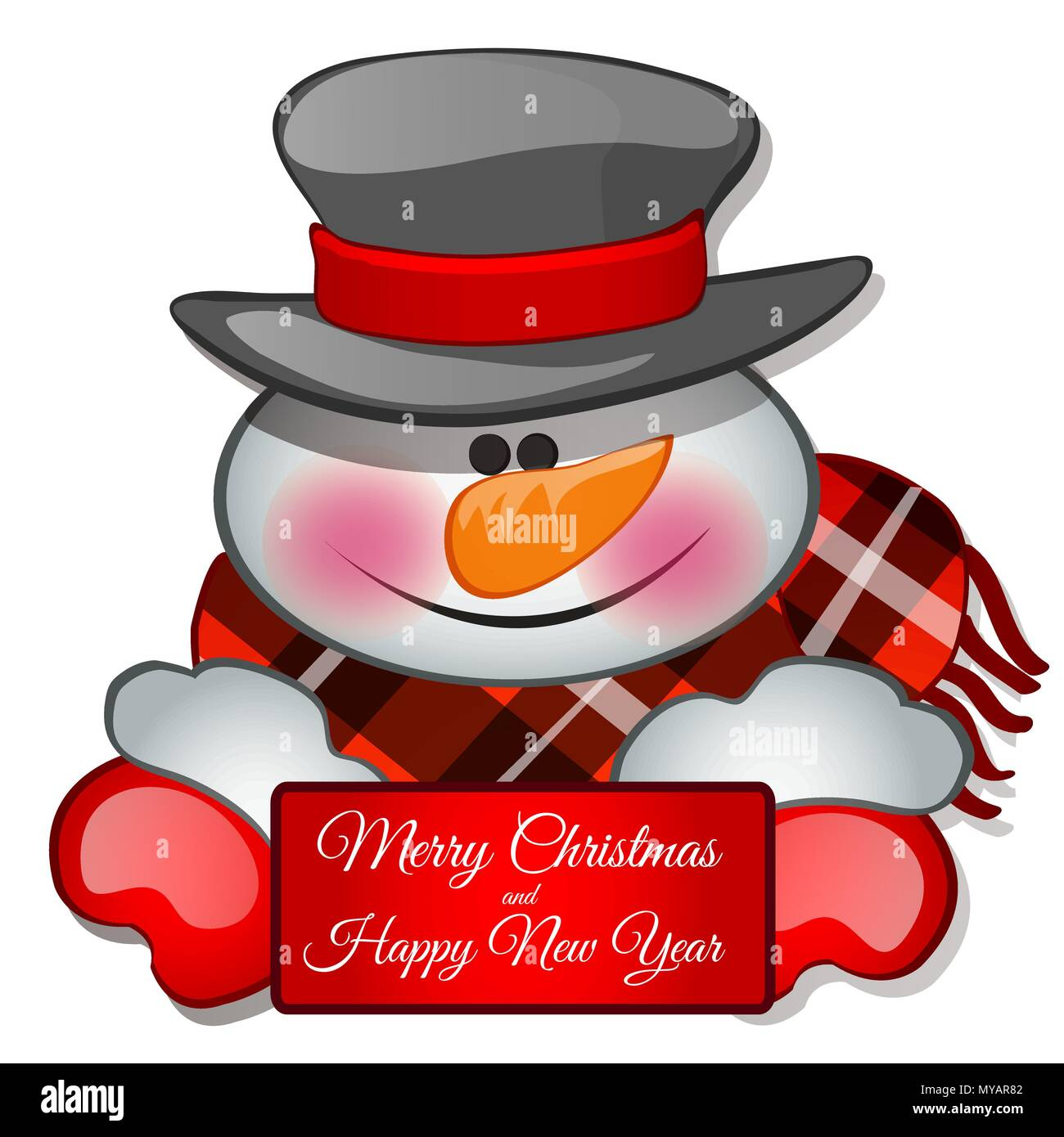 the snowmans head in tophat sketch for greeting card festive poster or party invitationsthe attributes of christmas and new year vector illustration