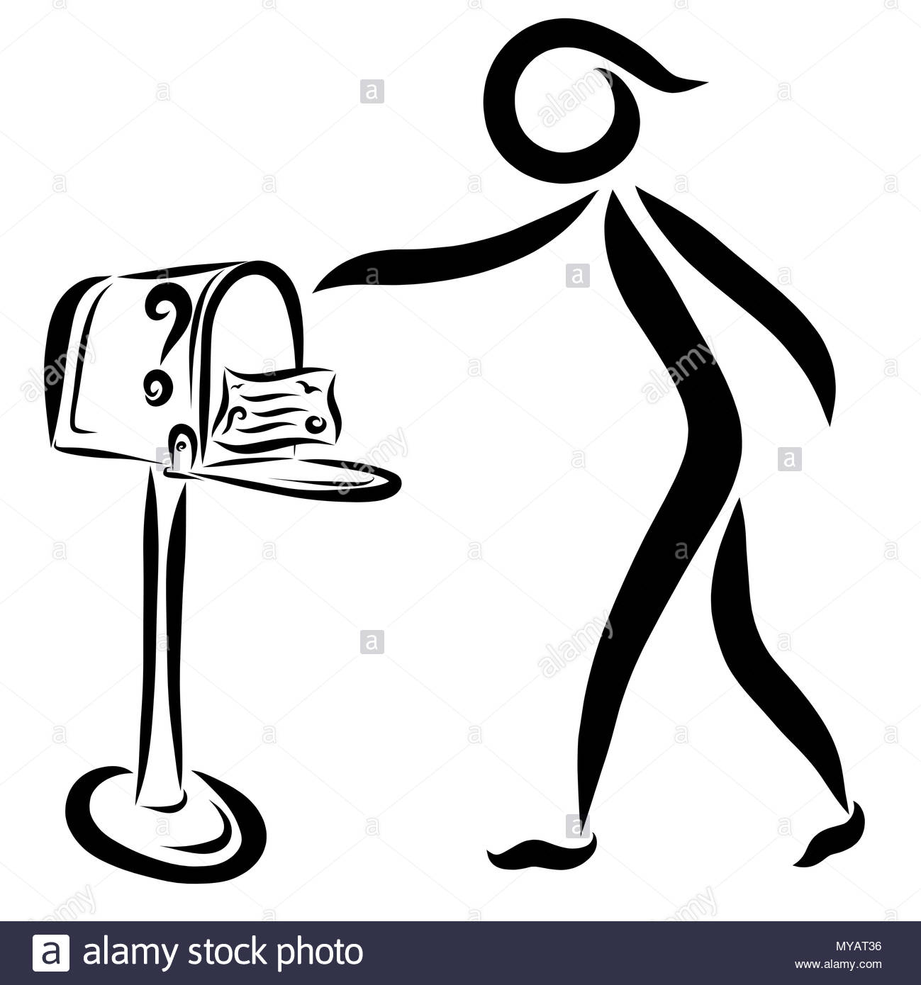 The person who received the letter, mail box - Stock Image