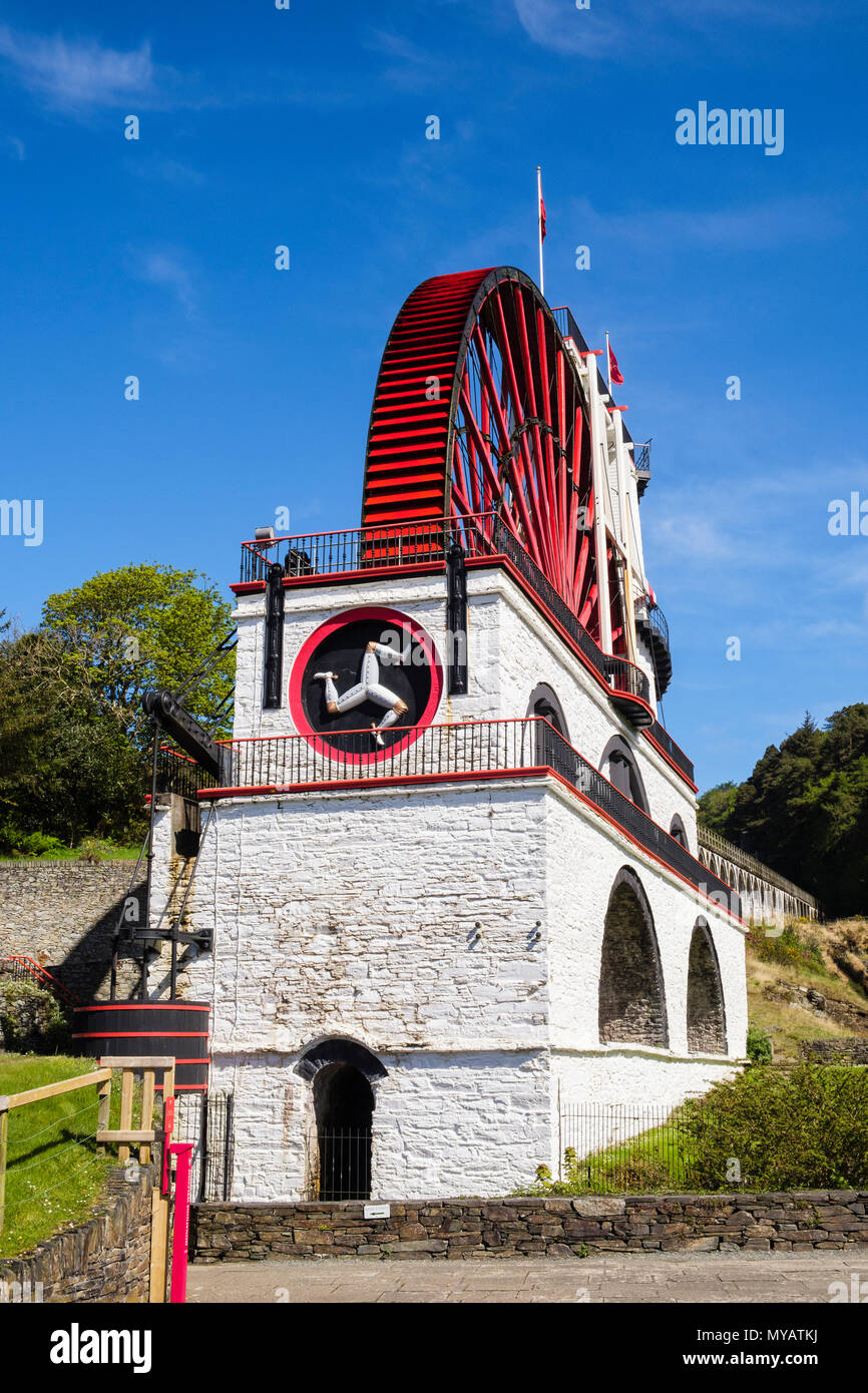 Victorian Great Laxey Wheel or Lady Isabella is part of mines trail complex is largest working waterwheel in world.  Laxey, Isle of Man, British Isles Stock Photo