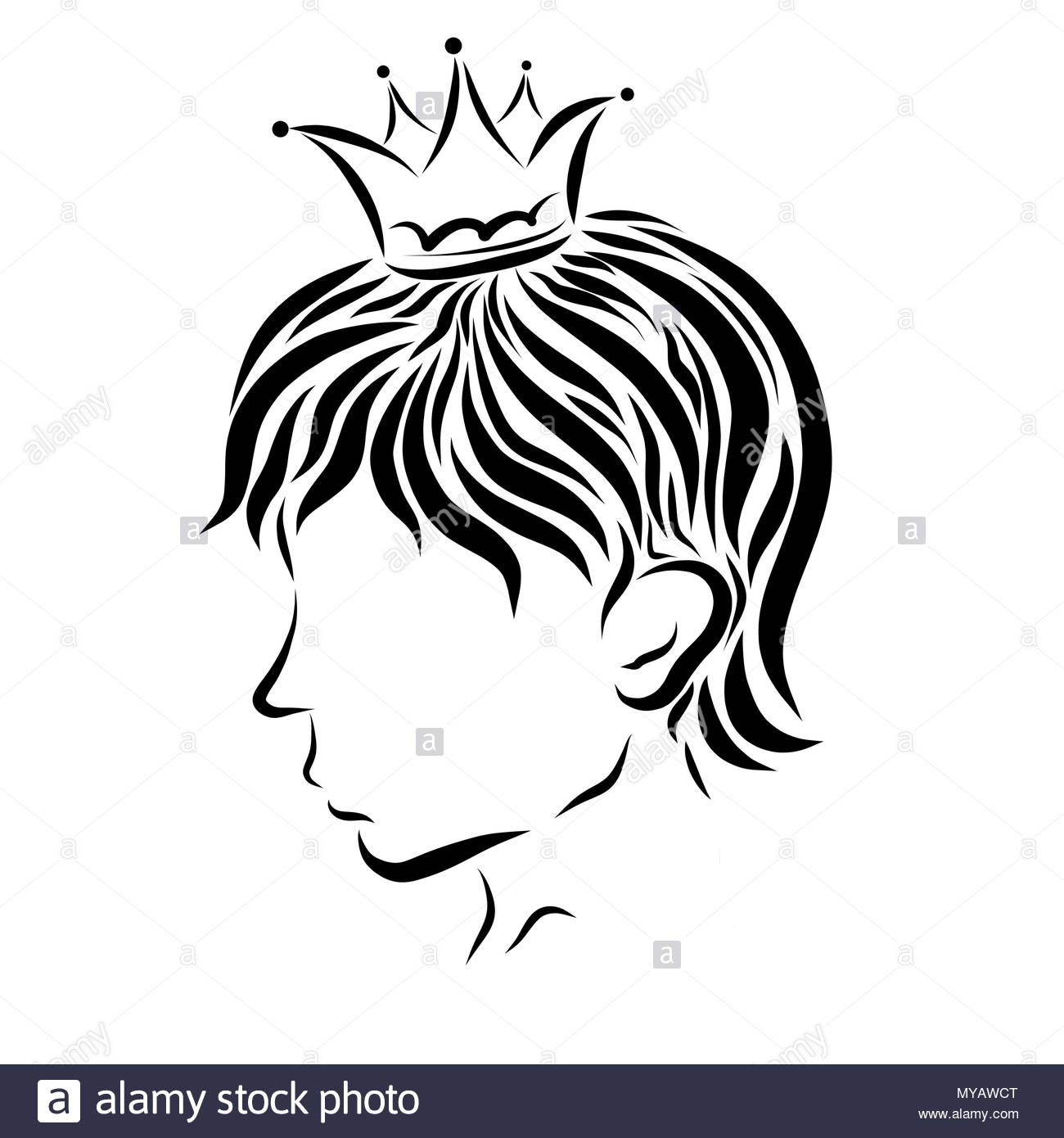 Head of the handsome young prince in the crown - Stock Image