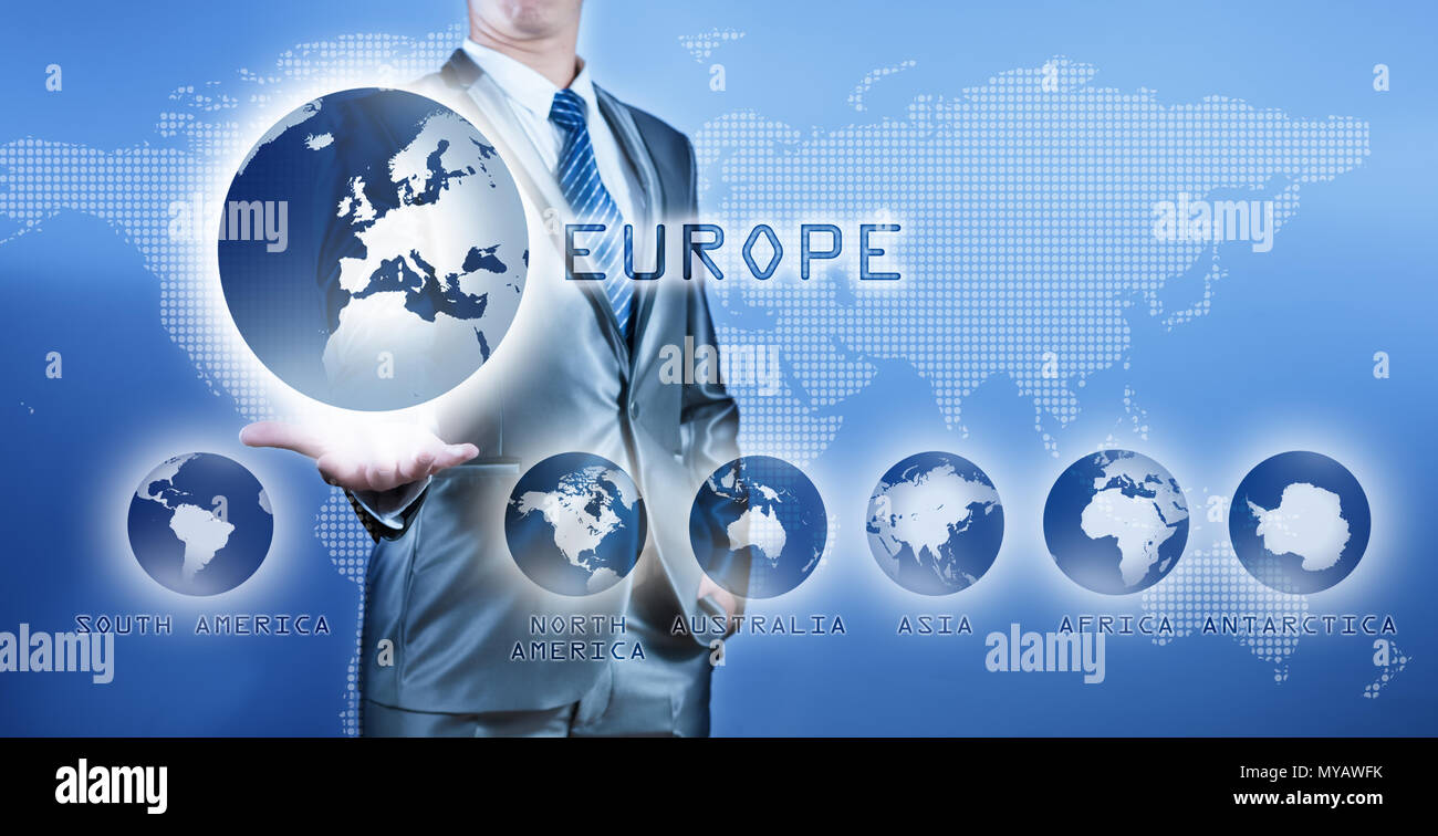 Businessman choosing europe continent on virtual digital screen, business concept of decision making - Stock Image