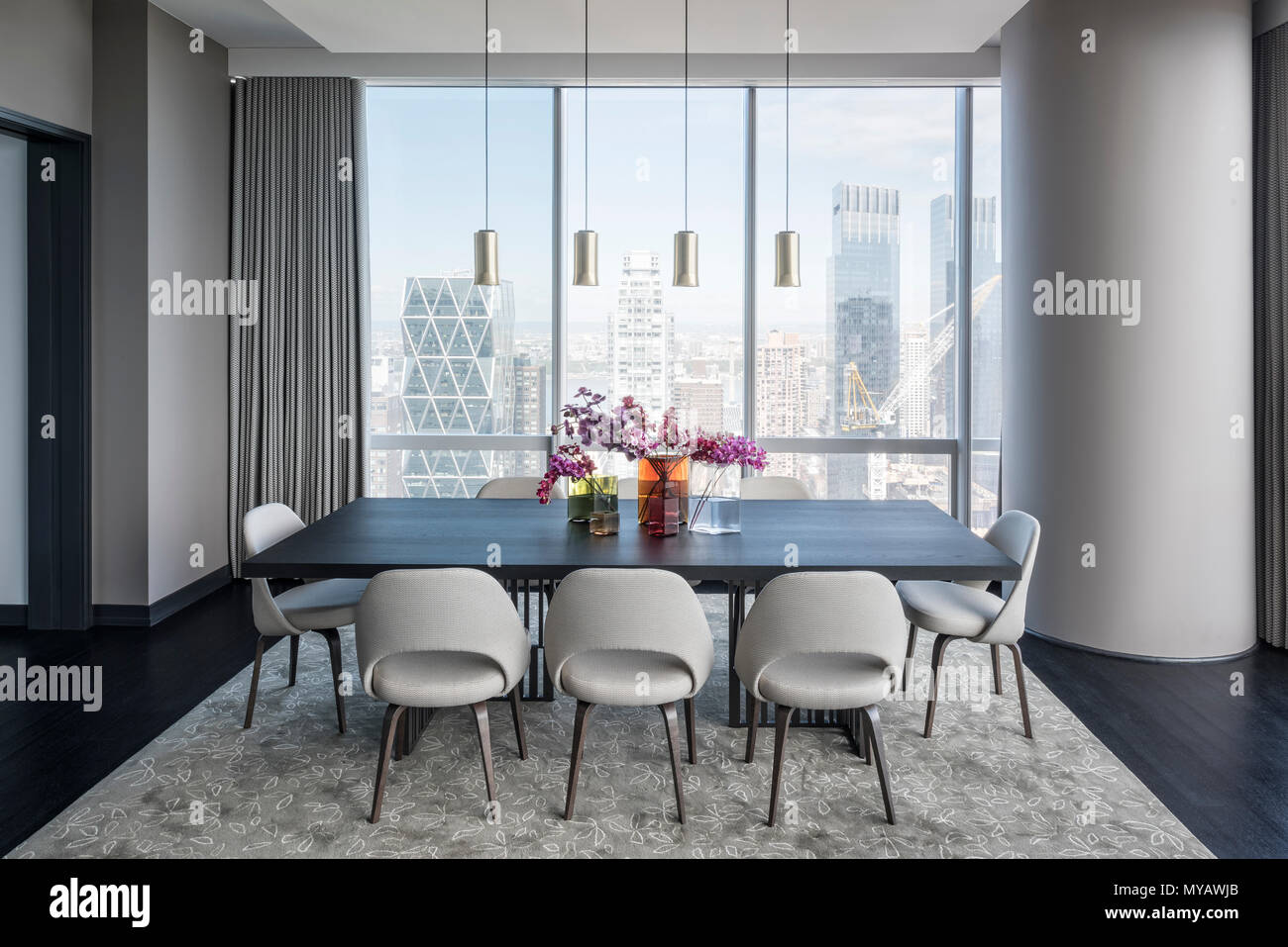 Dining Room In Modern Apartment In New York City Usa Stock Photo Alamy
