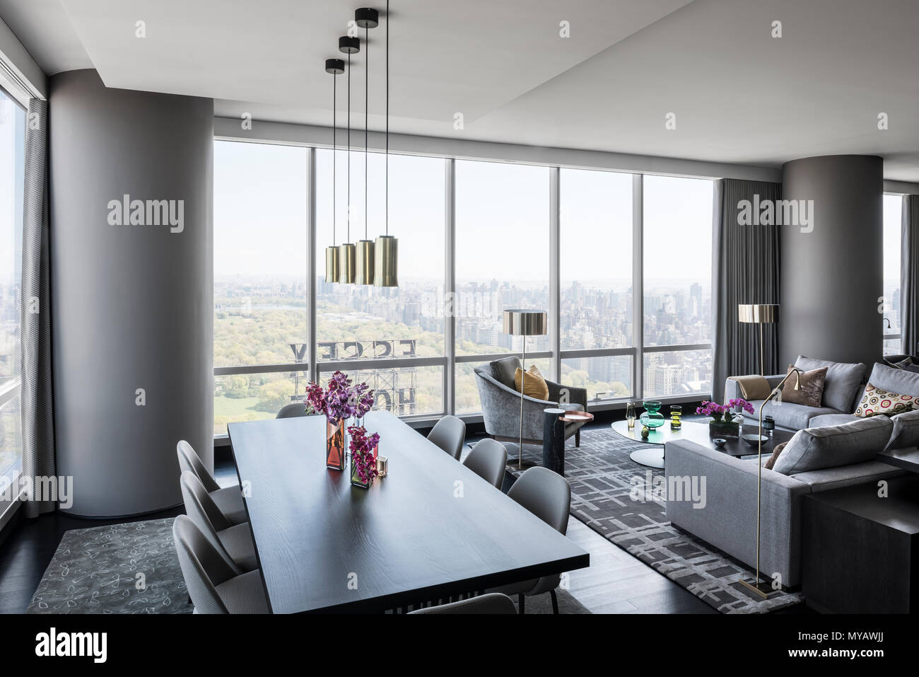 Dining room in modern apartment in New York City, USA Stock ...