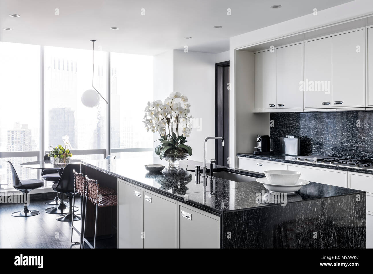 Kitchen in modern apartment in New York City, USA Stock ...