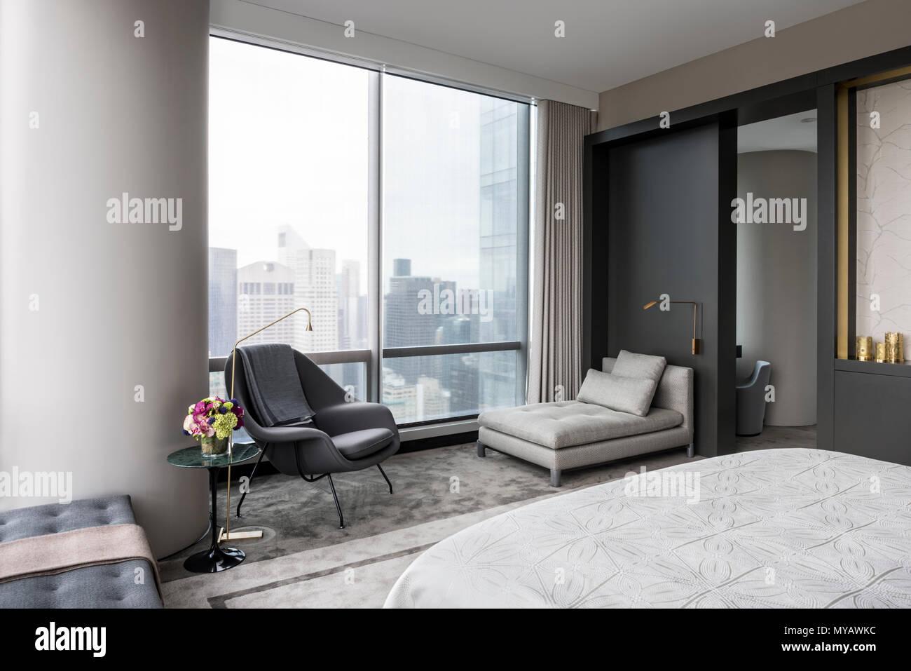 Astounding Modern Bedroom In Apartment In New York City Usa Stock Download Free Architecture Designs Rallybritishbridgeorg