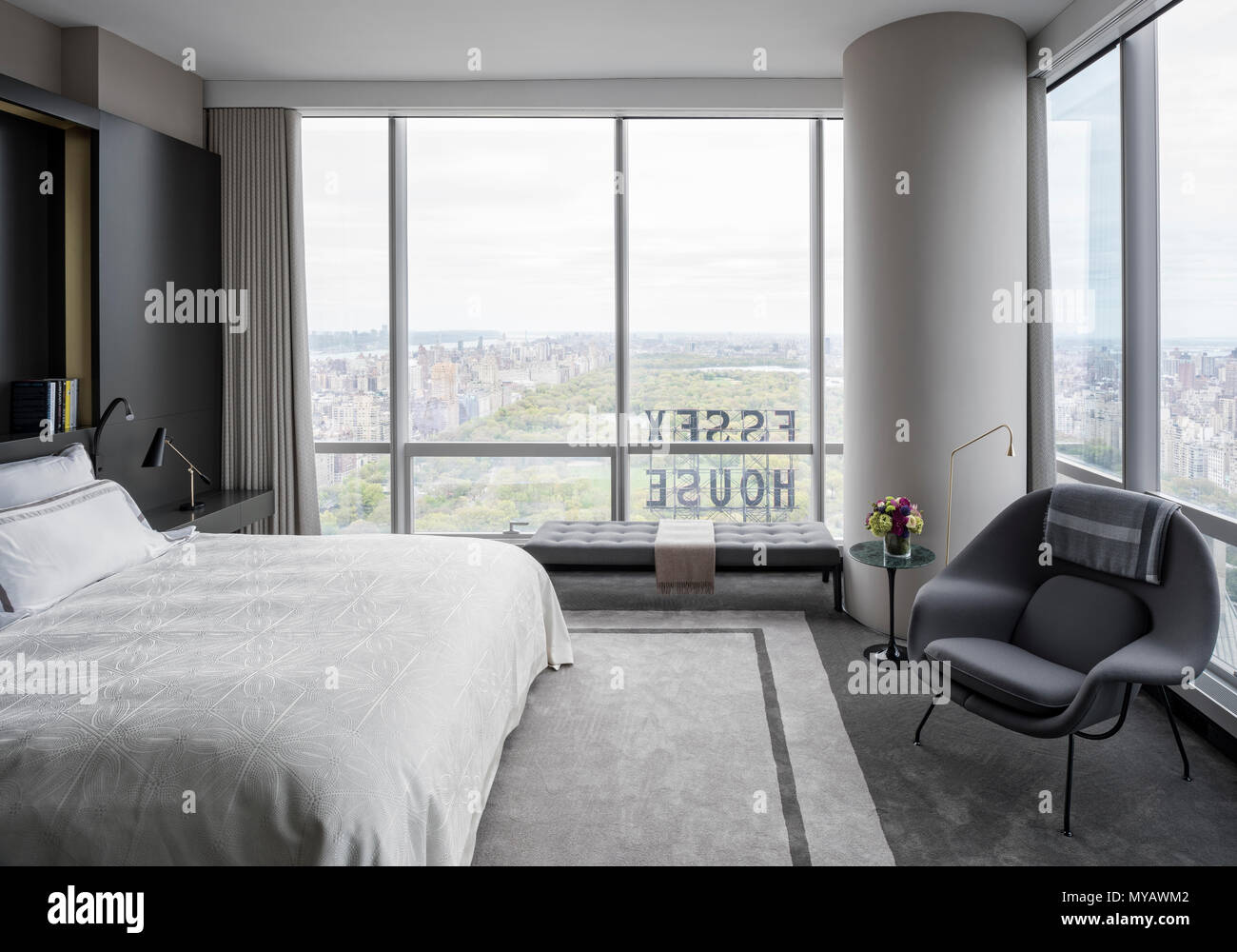 Modern Bedroom In Apartment In New York City Usa Stock Photo Alamy