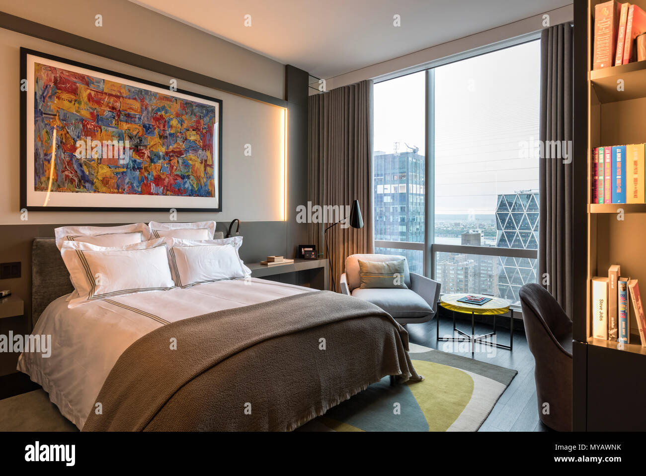 Groovy Modern Bedroom In Apartment In New York City Usa Stock Download Free Architecture Designs Rallybritishbridgeorg