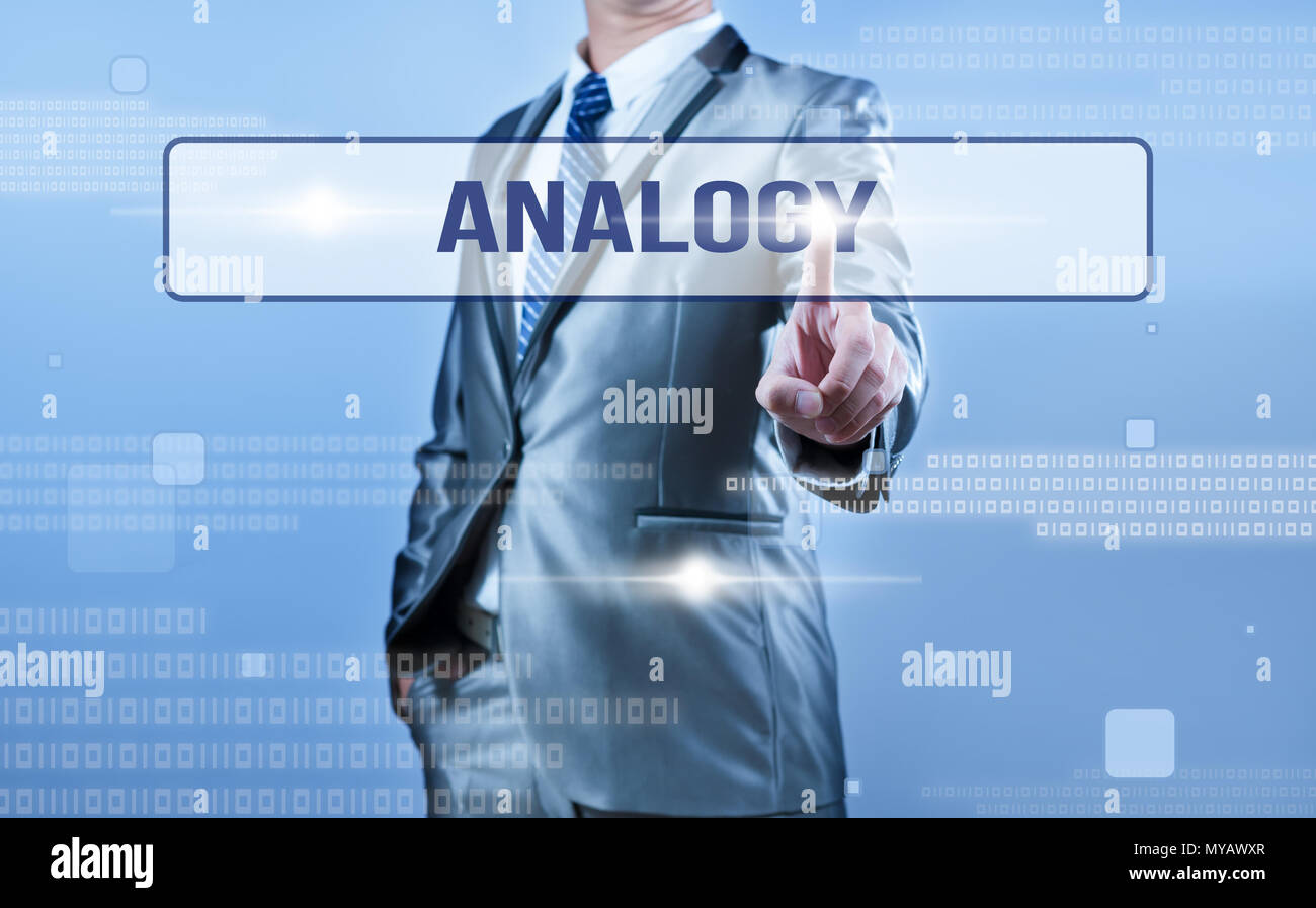businessman making decision on analogy - Stock Image
