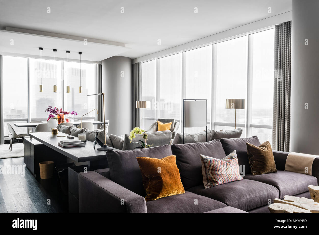Sofa in modern apartment in New York City, USA Stock Photo ...