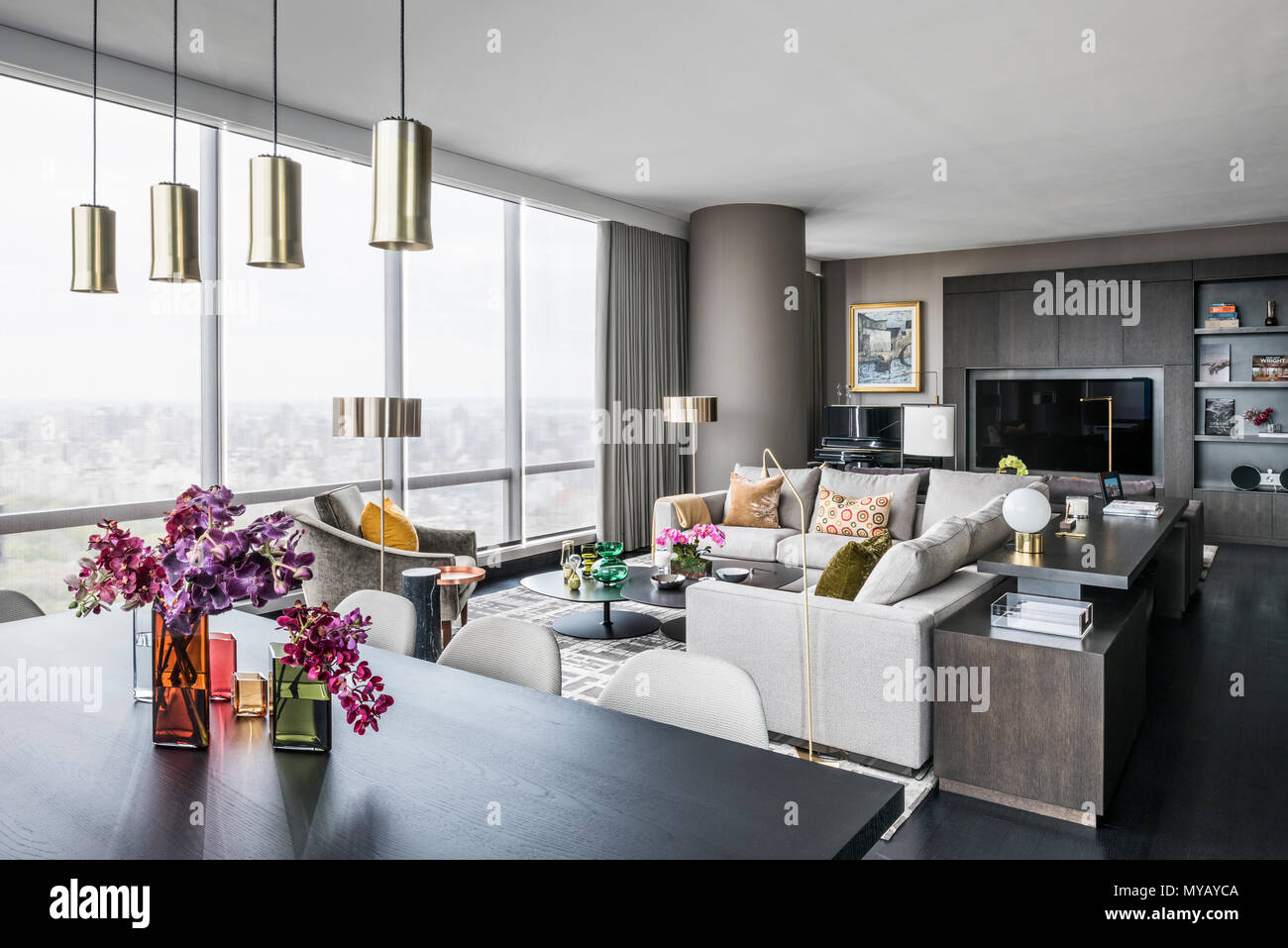 Living room in modern apartment in New York City, USA Stock ...