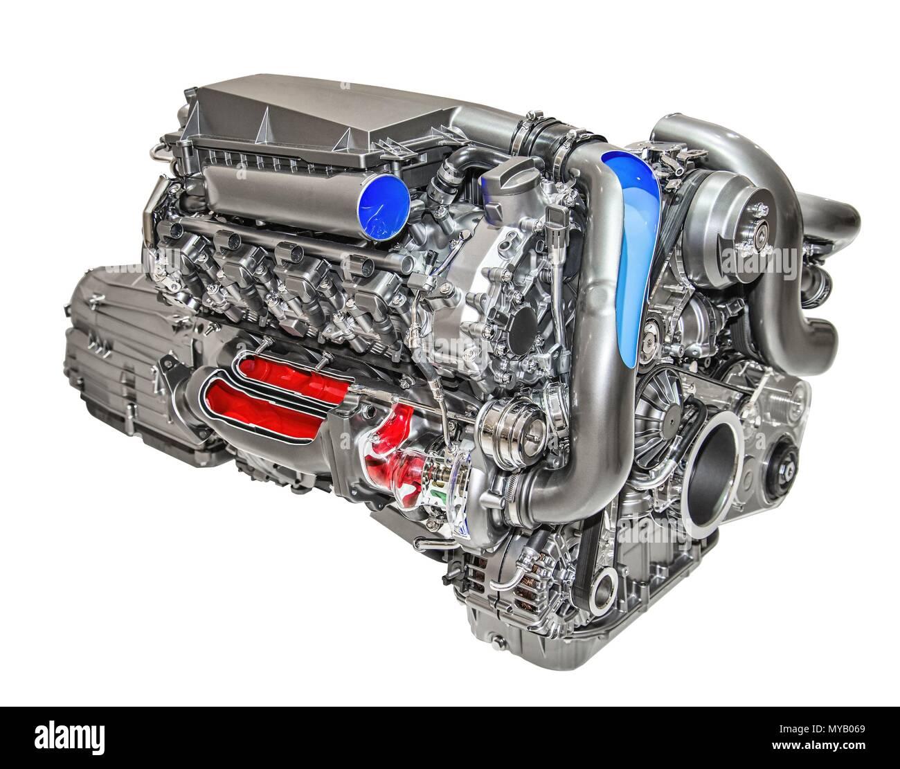 Modern 8-cylinder engine of a luxury car | usage worldwide - Stock Image