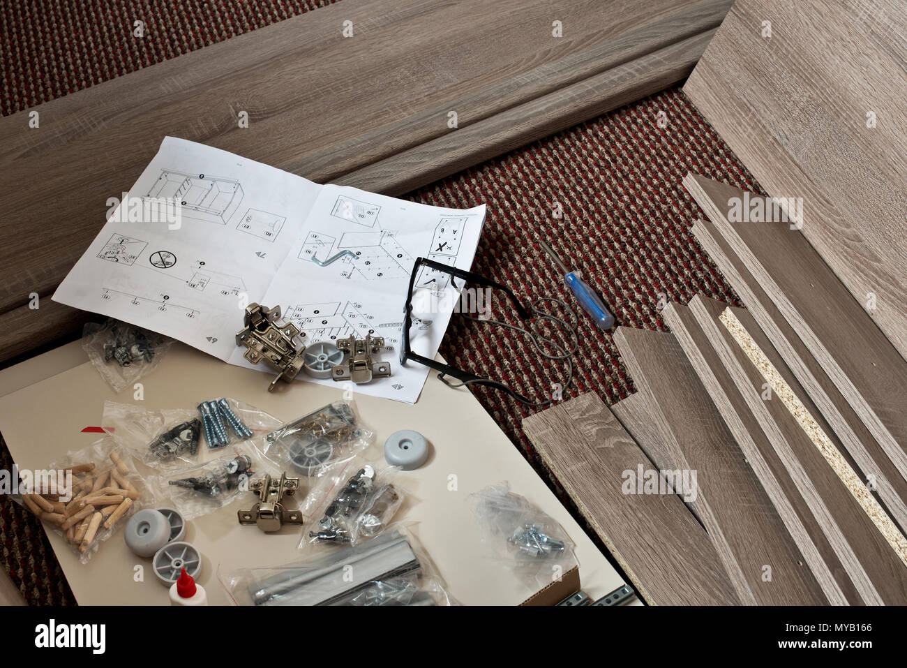 Preparation for New Furniture Installation on the Carpet. - Stock Image
