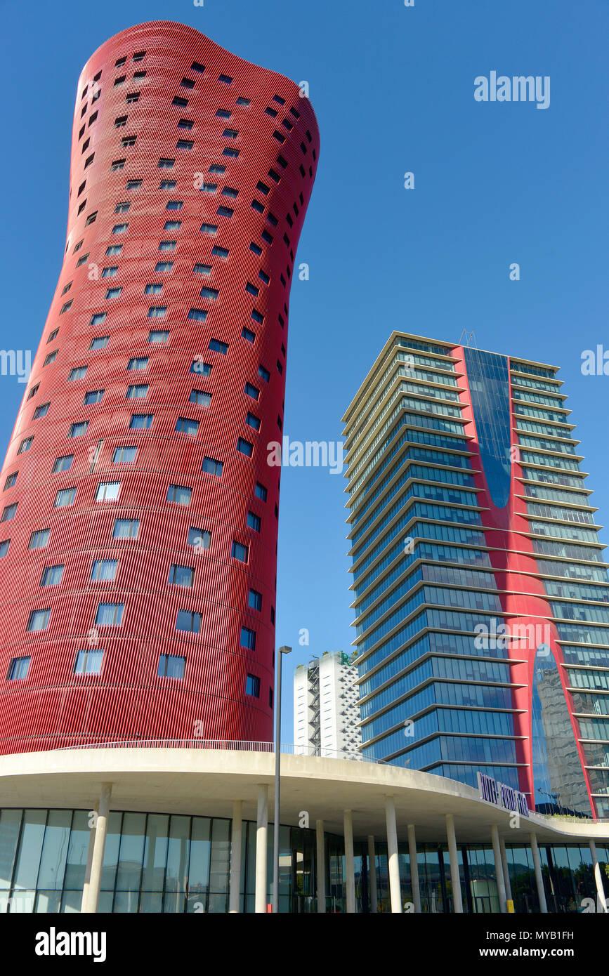 Overall view of Hotel Santos Porta Fira, left & Torre Realia Barcelona, right, by Toyo Ito, Barcelona, Catalonia, Spain Stock Photo