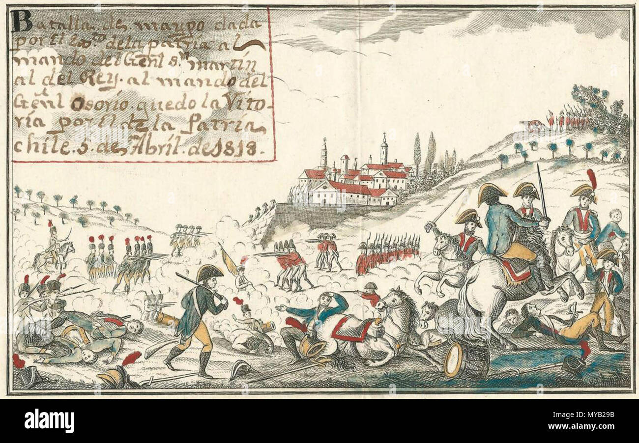 Español: Batalla de Maypo, 1818. Grabado Anónimo 12,16 x 20,7 cm ...