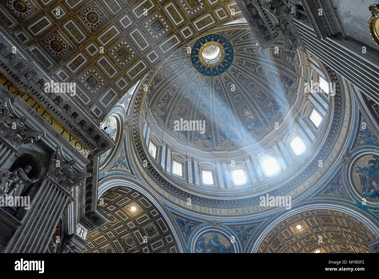 Saint Peter's Basilica, interior of dome with light (Crepuscular or God rays) (rendered in PS), Vatican City, Rome, Italy Stock Photo